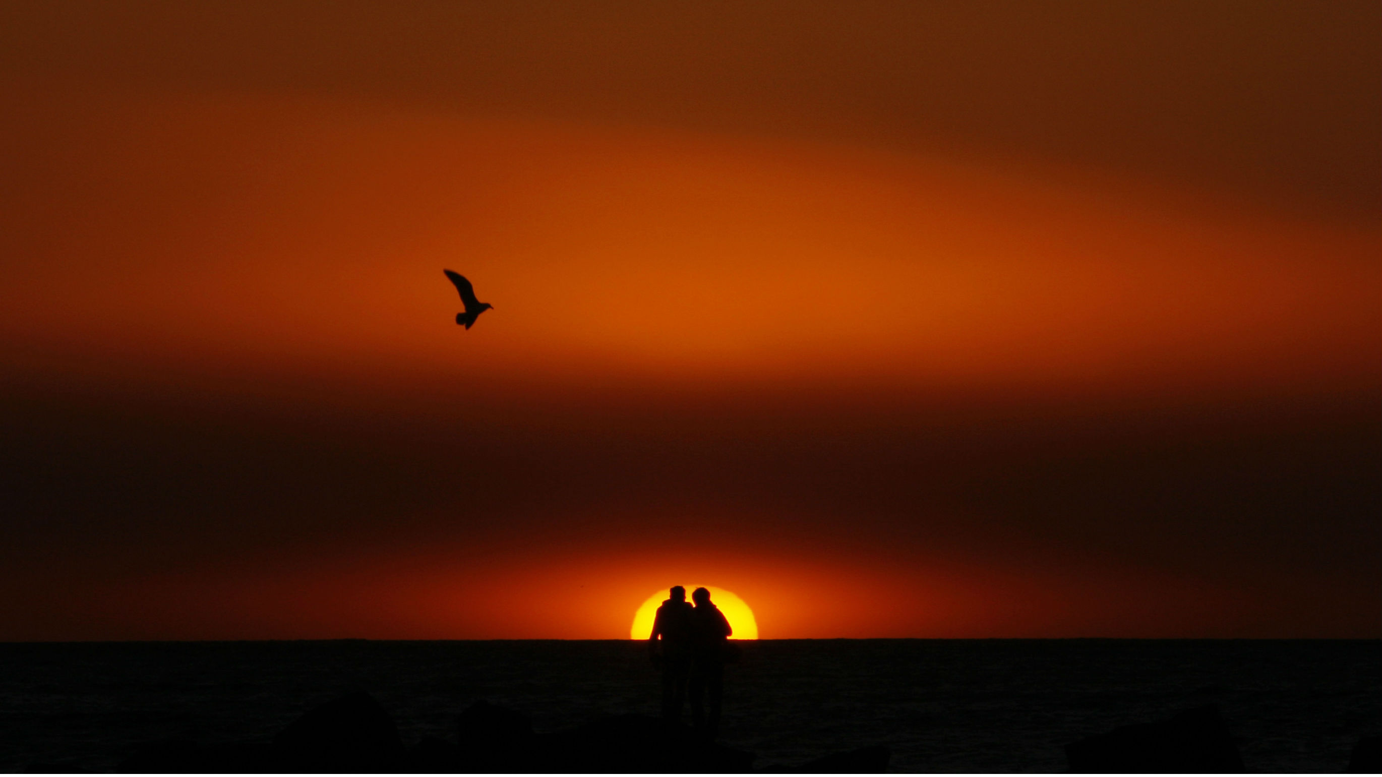 A couple watches the sunset on Venice Beach in Los Angeles December 26, 2007