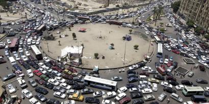 A traffic jam is pictured at Tahrir Square in Cairo July 19, 2012.