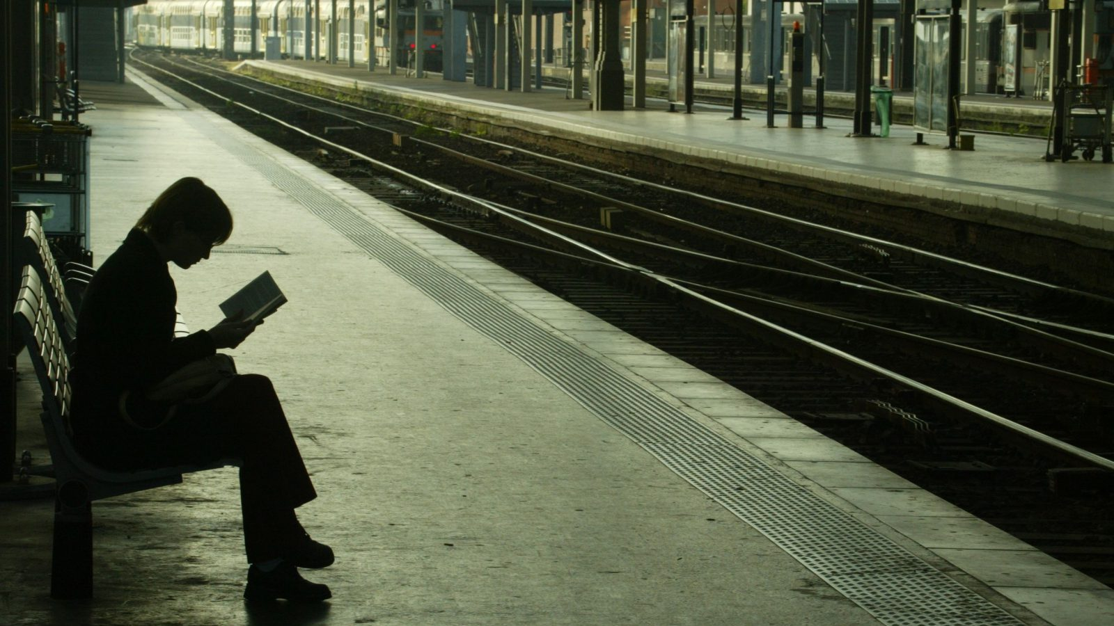 A commuter waiting for a train reads a book at Lille train station in northern France, May 13, 2003. Planes, trains and buses across France ground to a halt on Tuesday, schools were closed and newspapers left unsold as trade unions mobilised a mass one-day protest against planned pension reforms.