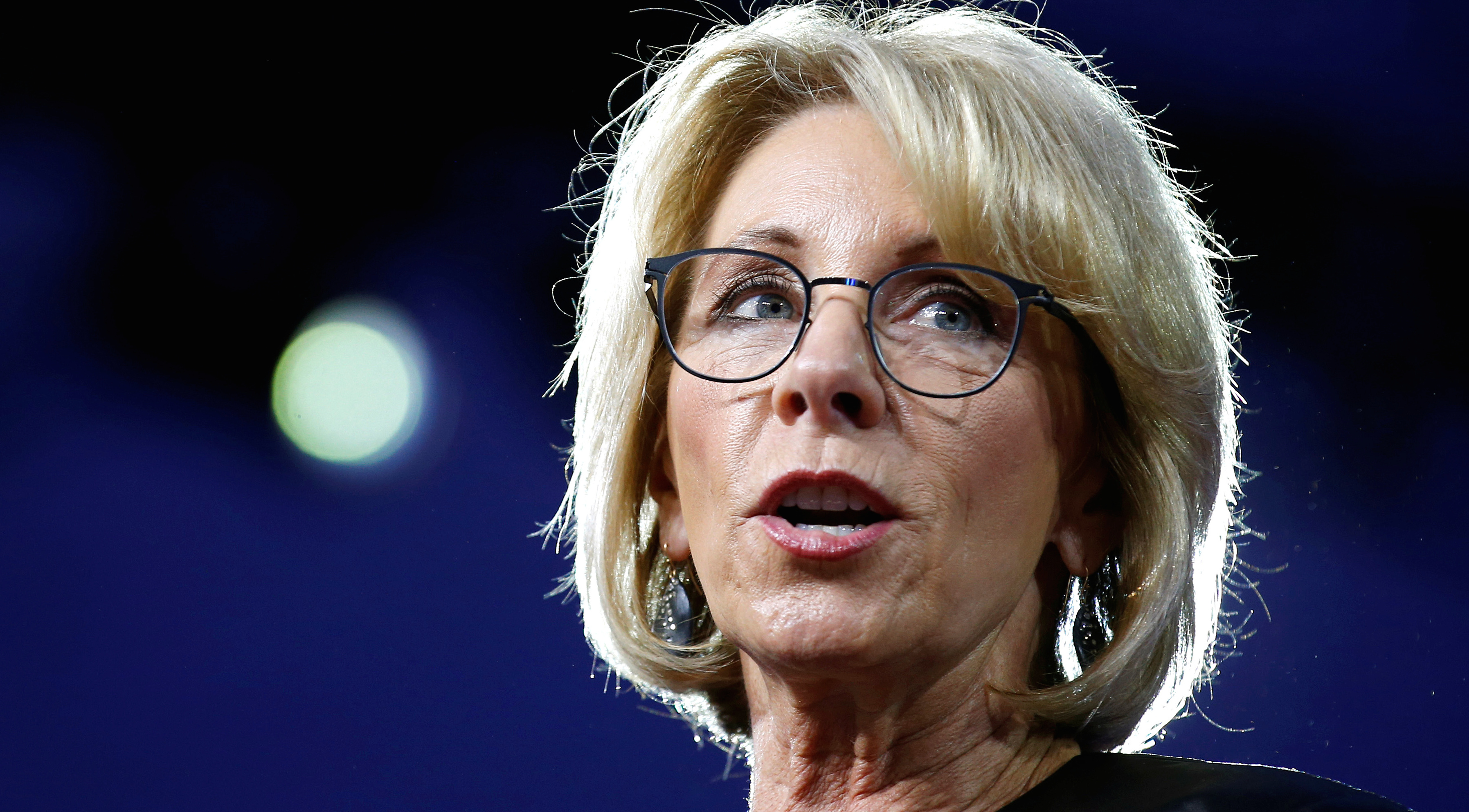 U.S. Secretary of Education Betsy DeVos speaks at the Conservative Political Action Conference (CPAC) in National Harbor, Maryland, U.S., February 23, 2017.
