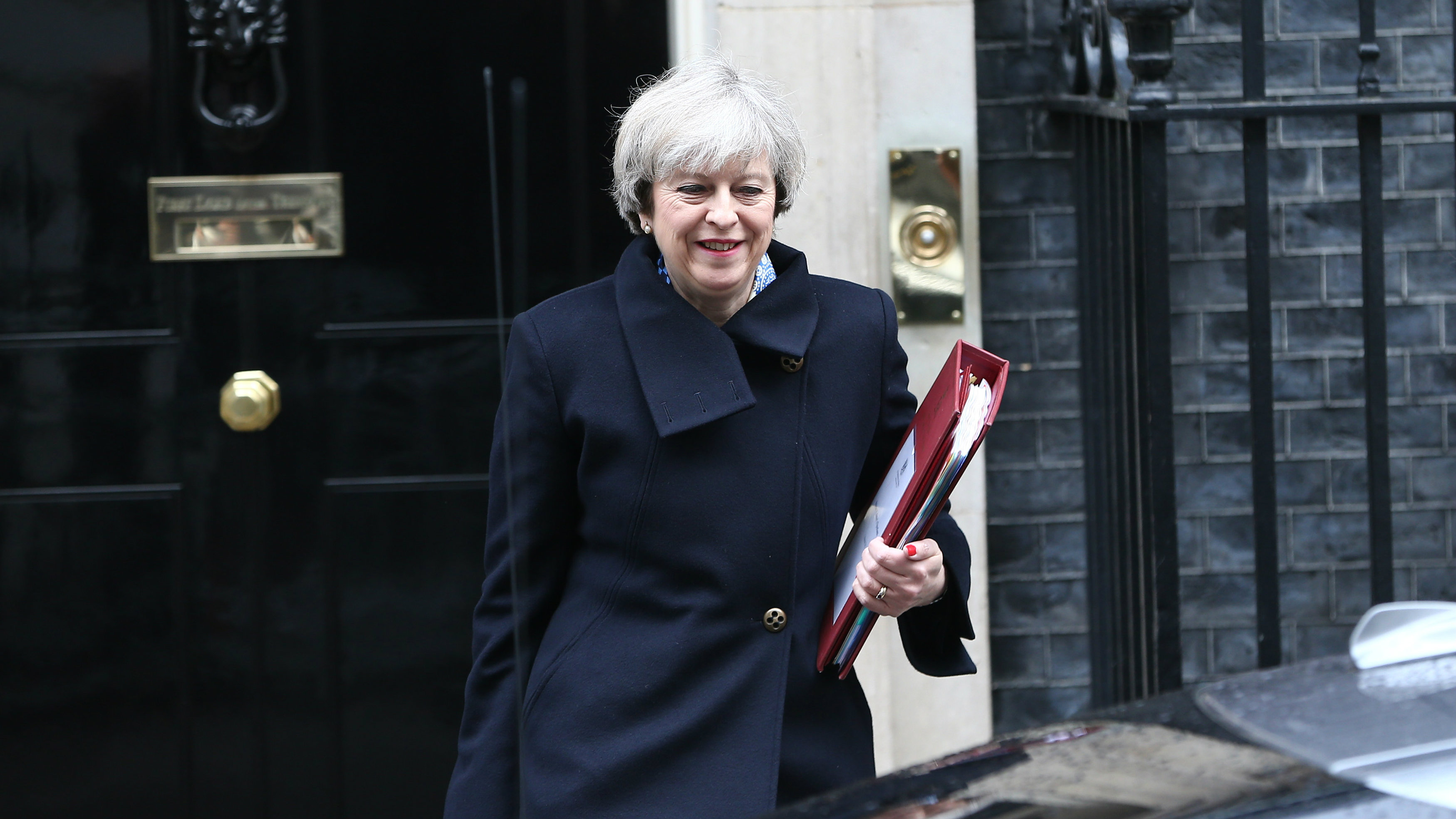 Britain's Prime Minister Theresa May leaves Downing Street in London