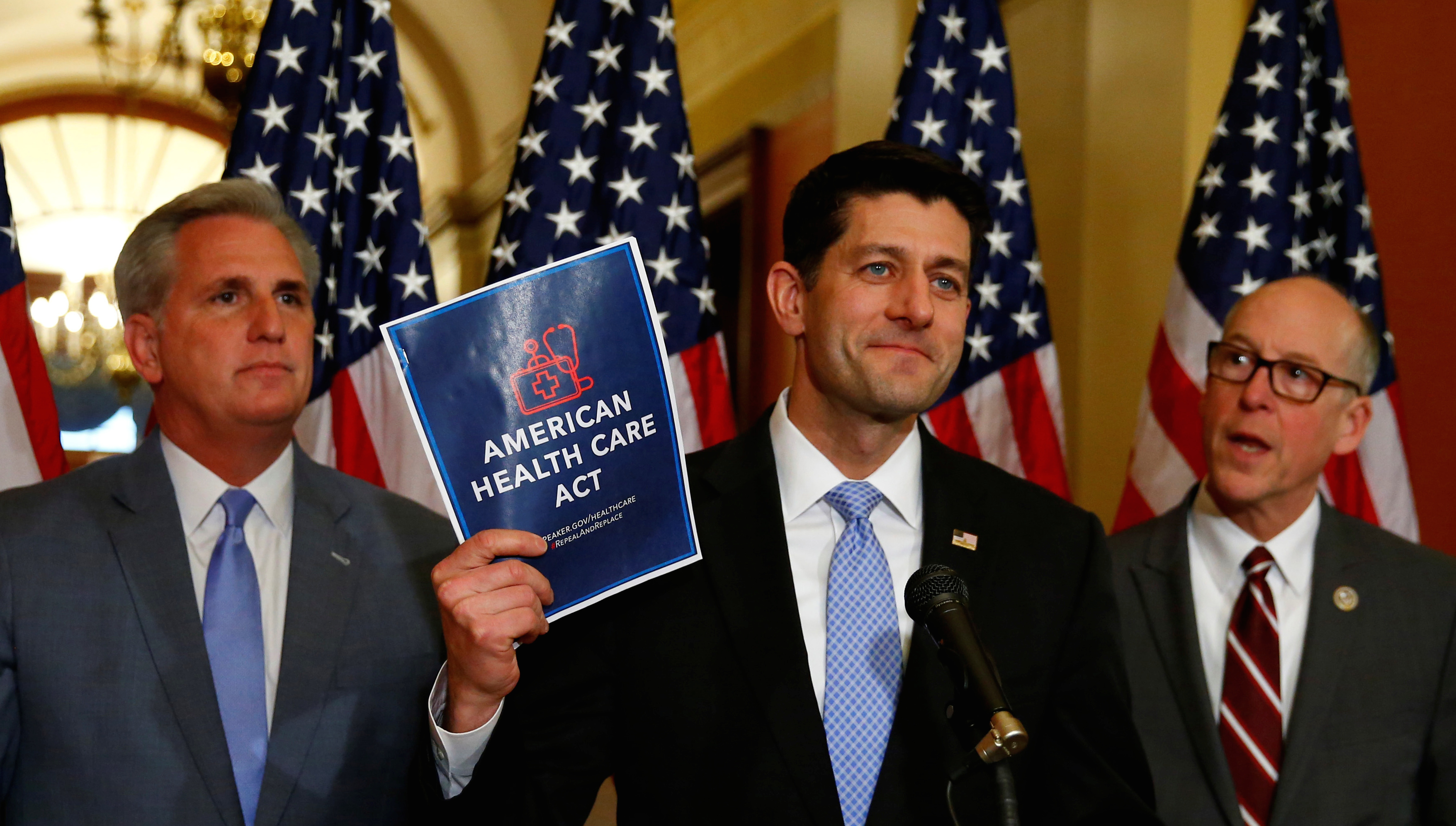 (L-R)U.S. House Majority Leader Kevin McCarthy, U.S. House Speaker Paul Ryan, and  U.S. Representative Greg Walden hold a news conference on the American Health Care Act on Capitol Hill in Washington, U.S. March 7, 2017.