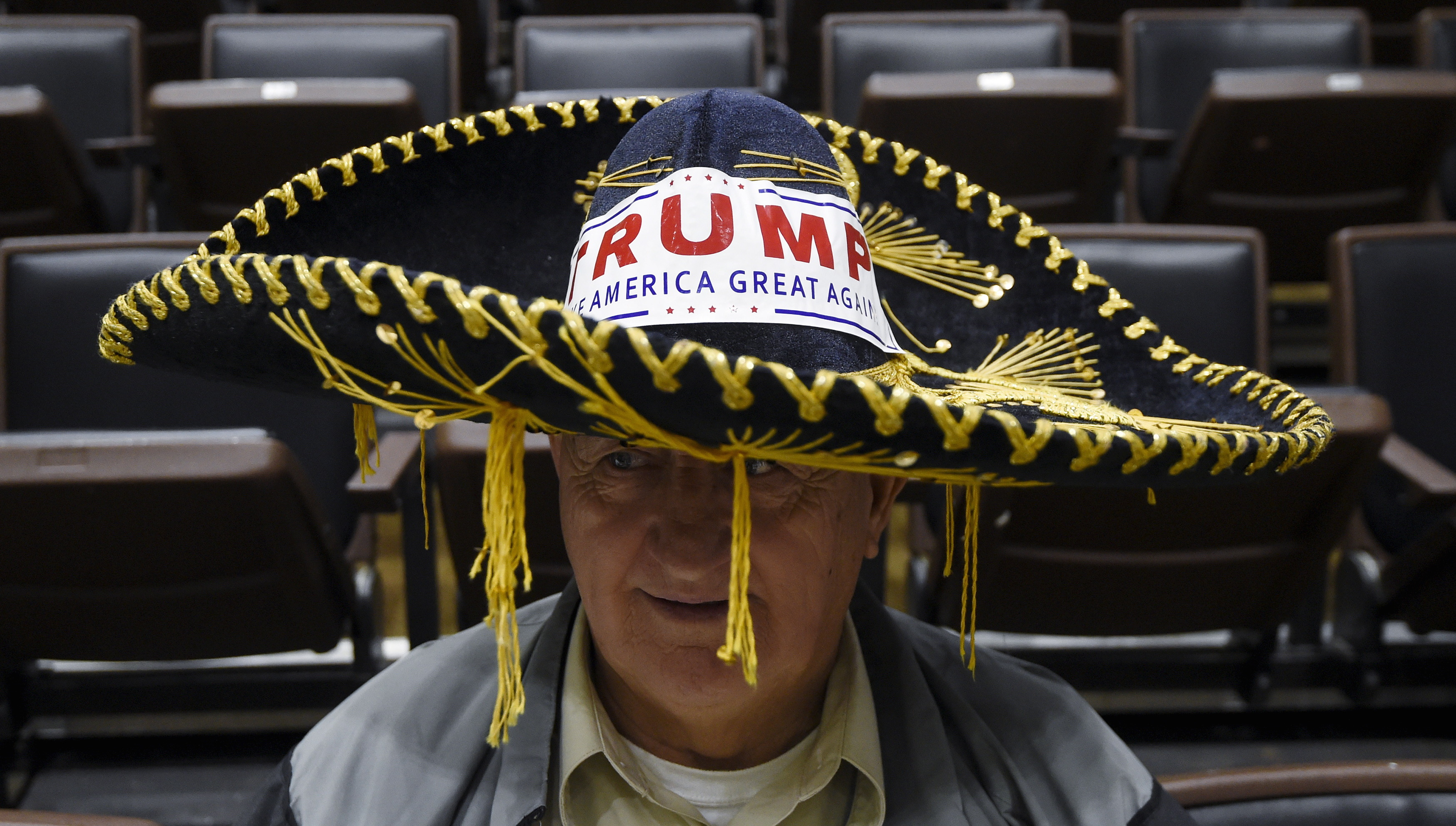 Jim Yates of Laurens, South Carolina wears a sombrero in support of U.S. Republican presidential candidate Donald Trump before a campaign rally in Spartanburg, South Carolina, November 20, 2015.