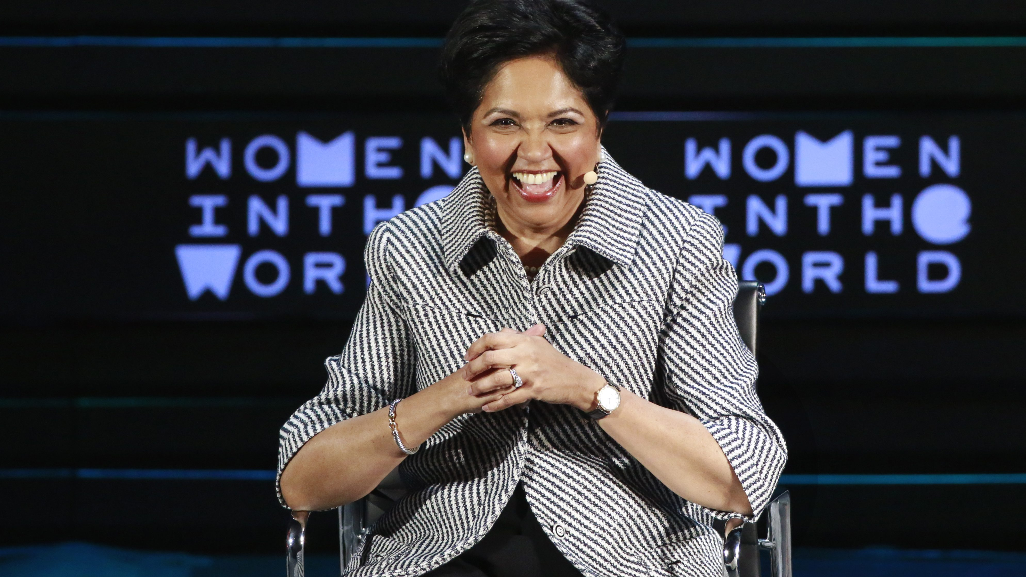 Indra Nooyi, CEO of PepsiCo, takes part in a panel during the Women In The World Summit in the Manhattan borough of New York April 8, 2016. REUTERS/Lucas Jackson  - RTSE7AV