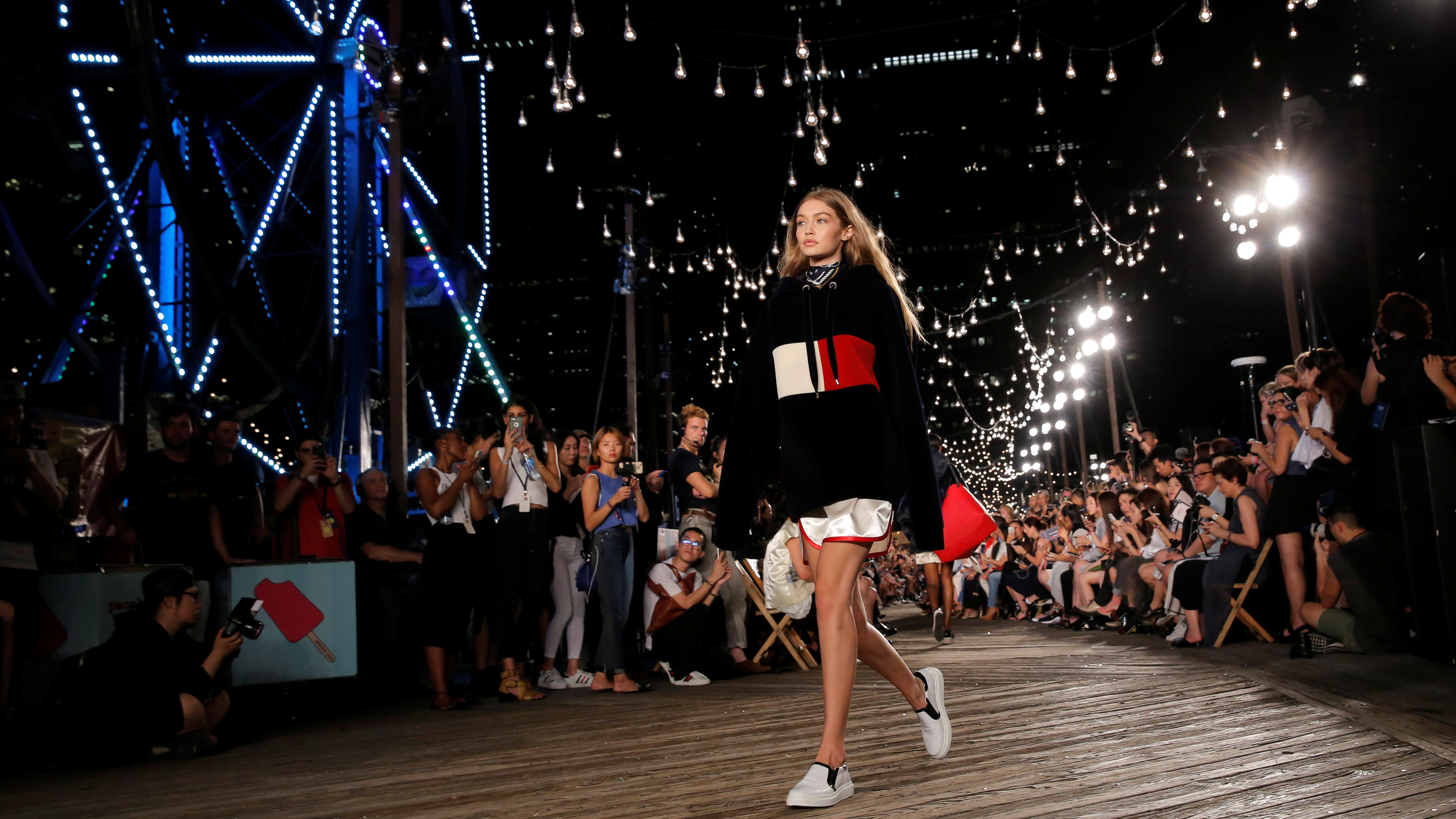 8fa973de15 Model Gigi Hadid presents a creation from Tommy Hilfiger s Spring Summer  2017 collection at New