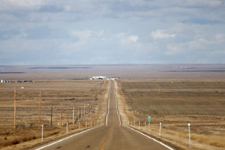 The U.S. and Canadian customs buildings are seen on the international border near Havre, Montana.