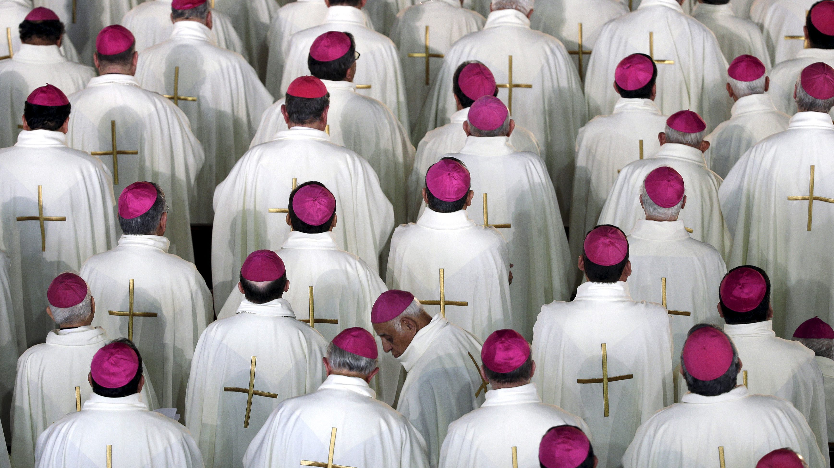 Members of the cleric participate in a mass celebrated by Pope Francis at Guadalupe's basilica in Mexico City, February 13, 2016. REUTERS/Max Rossi      TPX IMAGES OF THE DAY            - RTX26TMI
