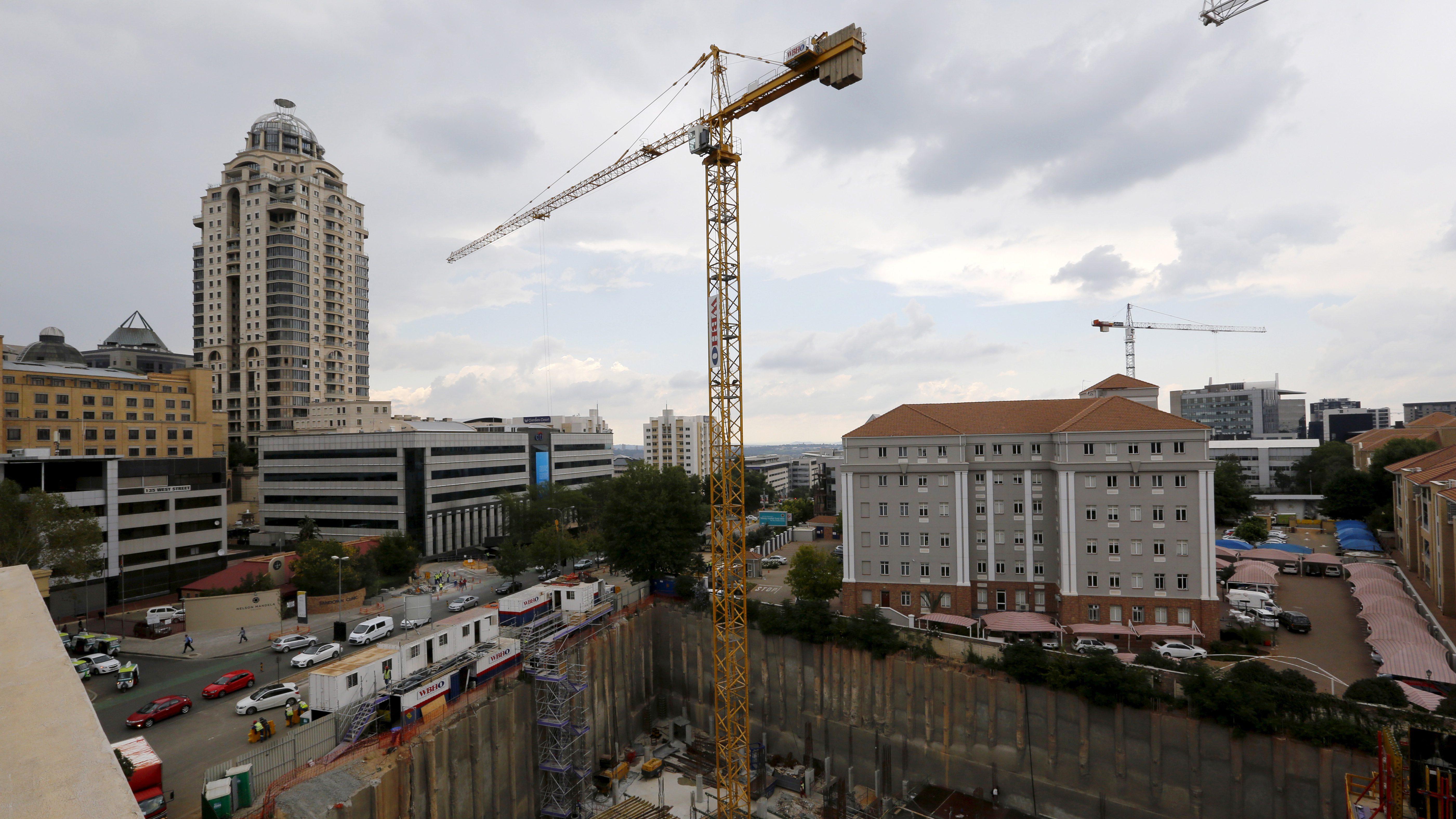 Construction is seen below the skyline of Johannesburg's upmarket Sandton suburb