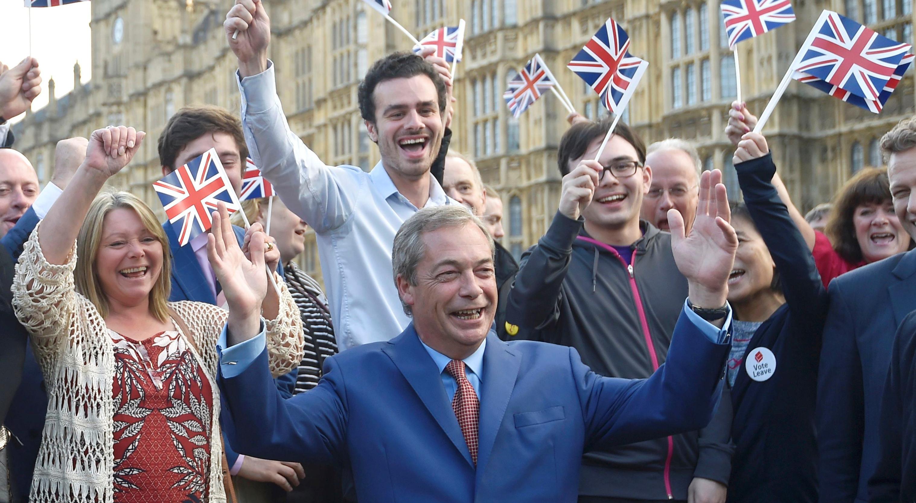 Voters celebrate Brexit vote