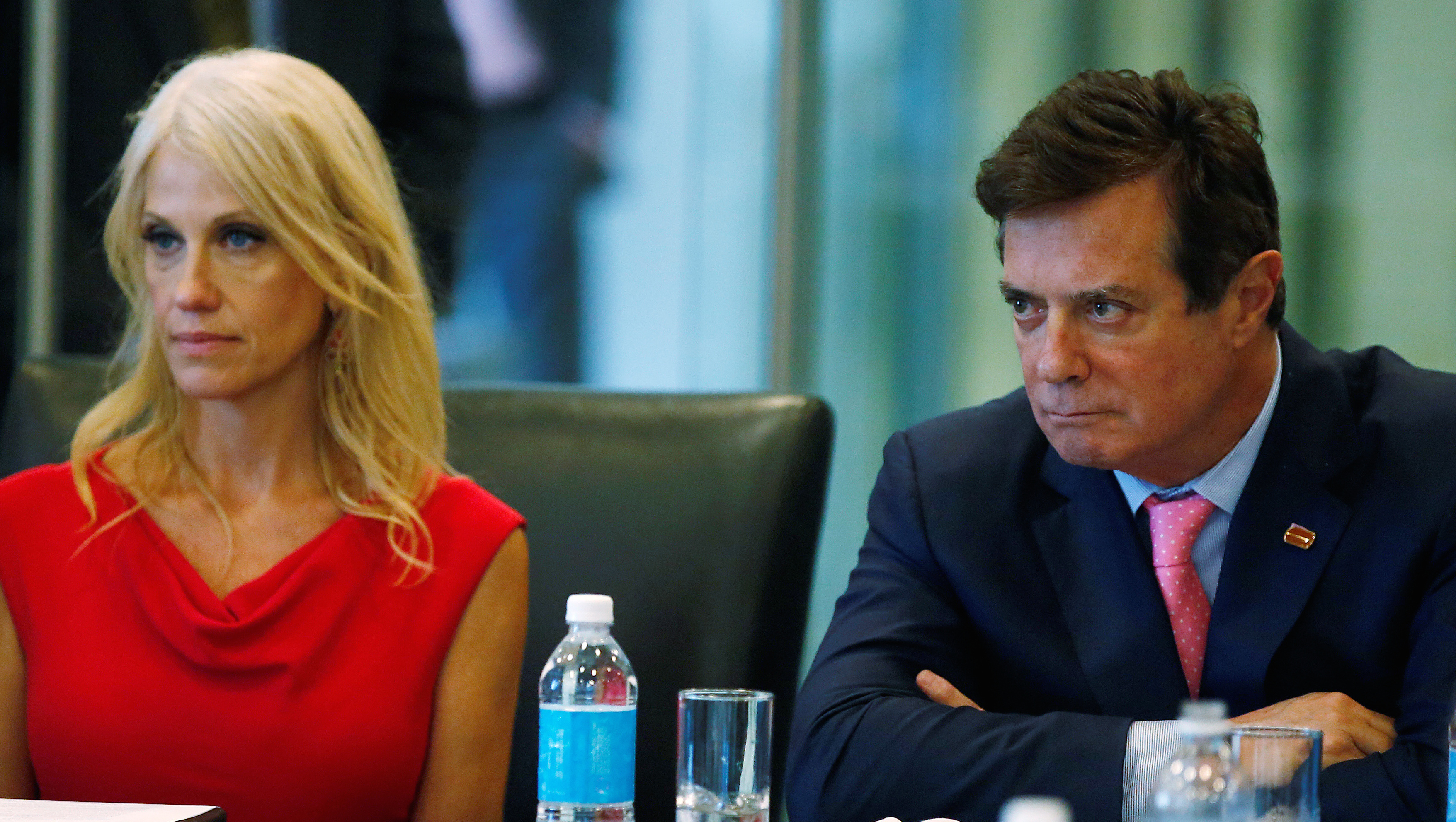 Campaign manager Kellyanne Conway and Paul Manafort of Republican presidential nominee Donald Trump's staff speak during a round table discussion on security at Trump Tower in the Manhattan borough of New York, U.S., August 17, 2016. Picture taken August 17, 2016.