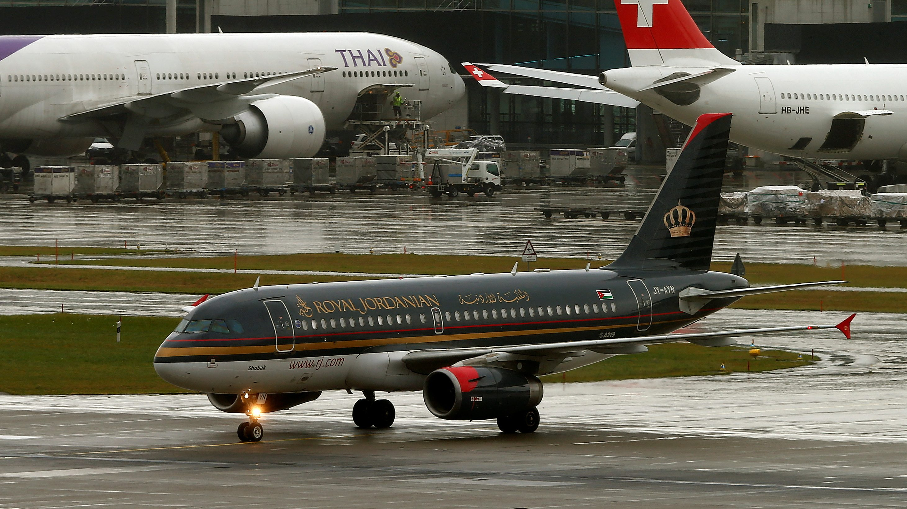 An Airbus A319-132 aircraft of Royal Jordanian Airlines is seen at Zurich airport, Switzerland October 21, 2016.