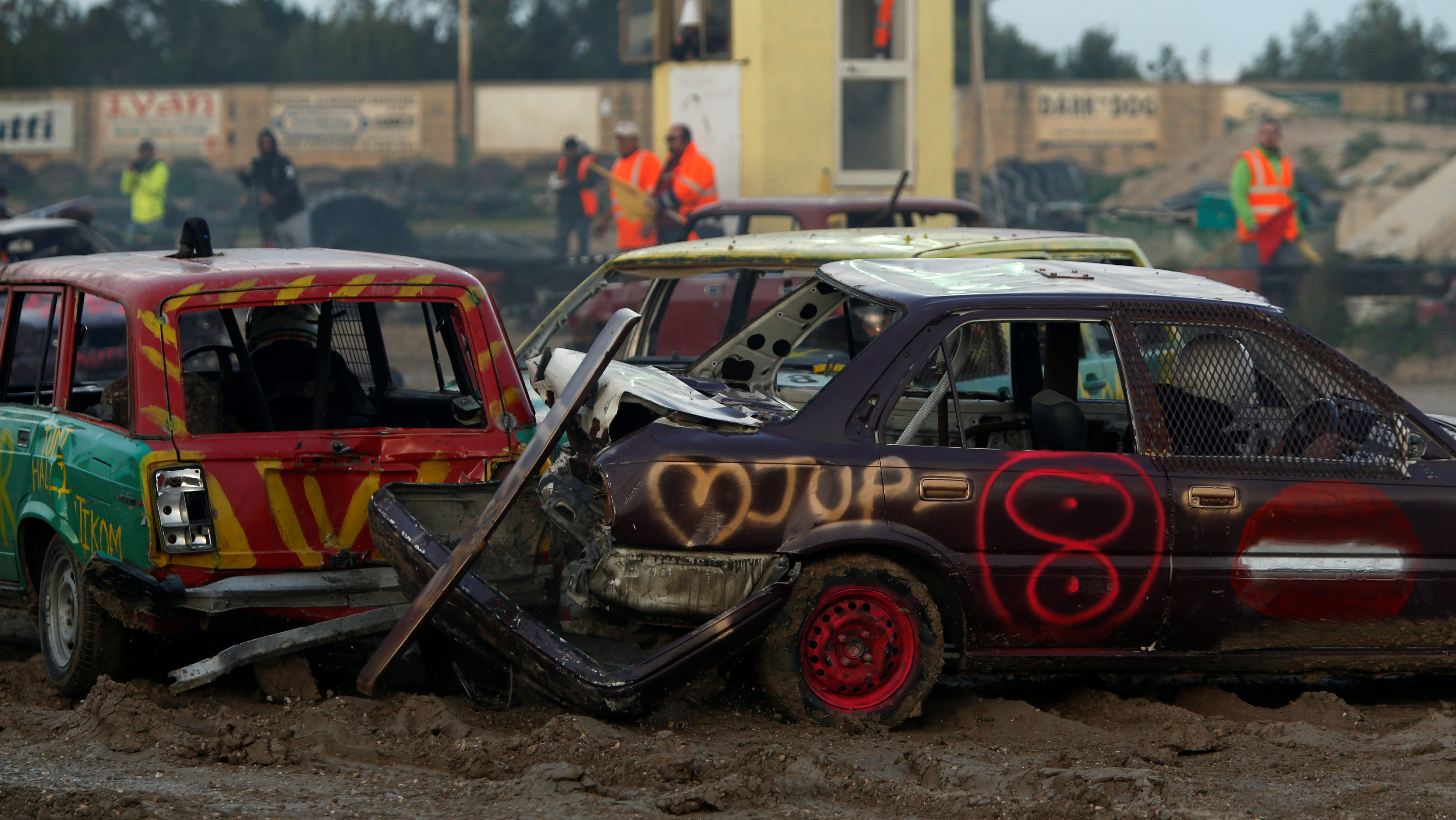 Drivers take part in a demolition derby organised by the Malta Motor Sports Association to raise funds for charity in Ta' Qali, outside Valletta, Malta, January 8, 2017. REUTERS/Darrin Zammit Lupi - RTX2XZMZ