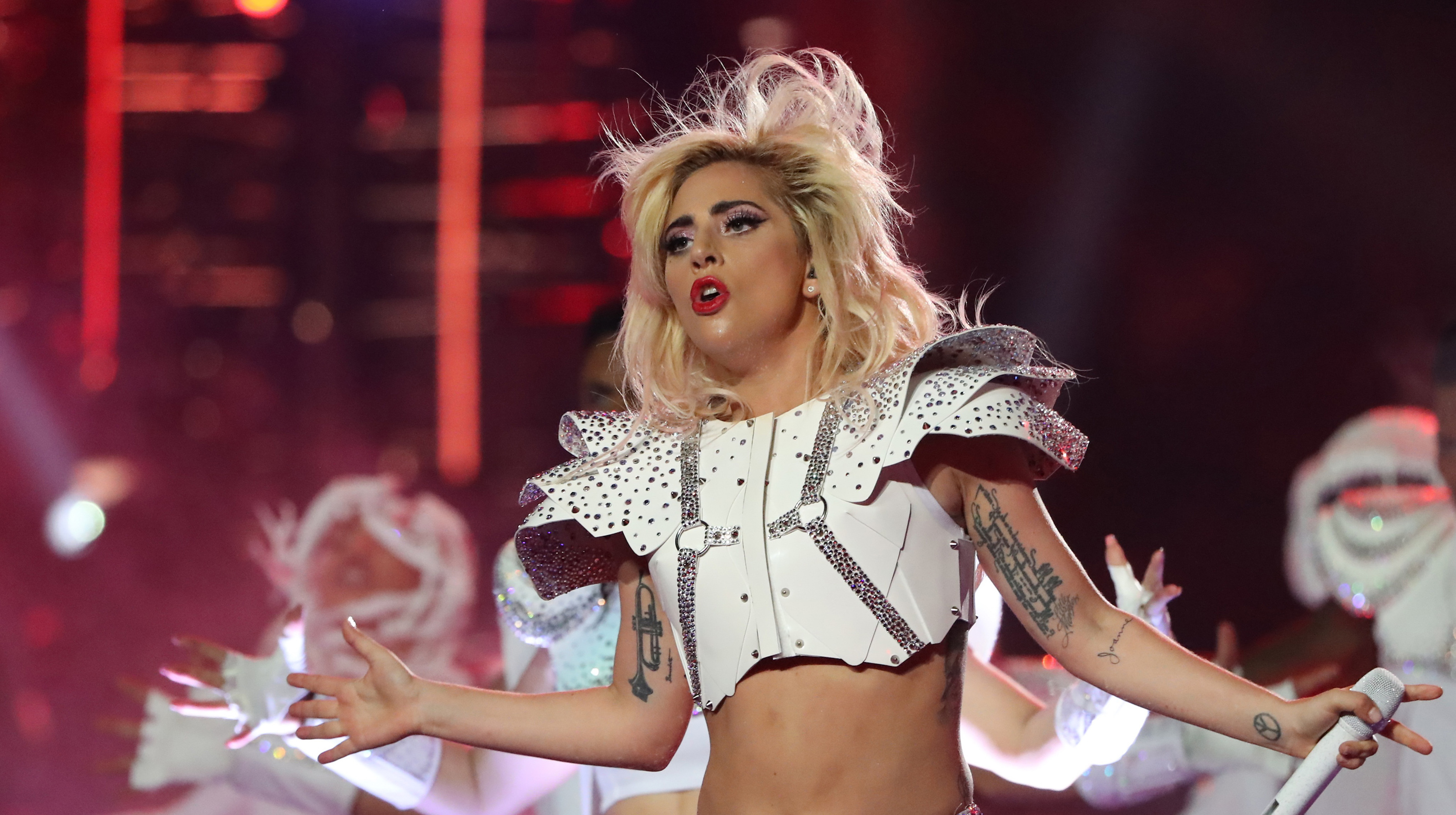 Singer Lady Gaga performs during the halftime show at Super Bowl LI between the New England Patriots and the Atlanta Falcons in Houston, Texas, U.S., February 5, 2017. REUTERS/Adrees Latif - RTX2ZR2P