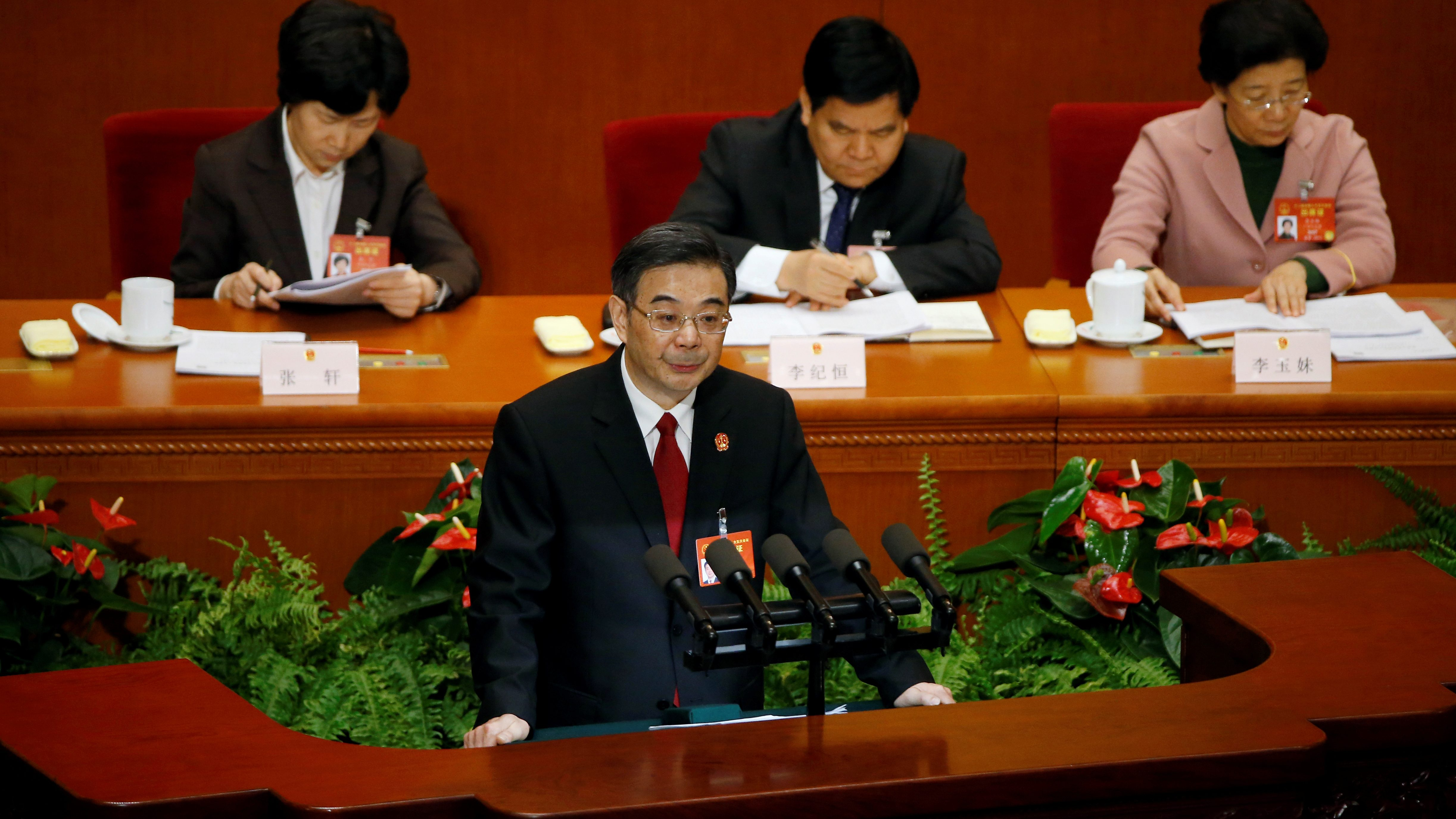 Zhou Qiang, President of China's Supreme People's Court, gives a speech during the third plenary session of the National People's Congress (NPC) at the Great Hall of the People, in Beijing, China, March 12, 2017.
