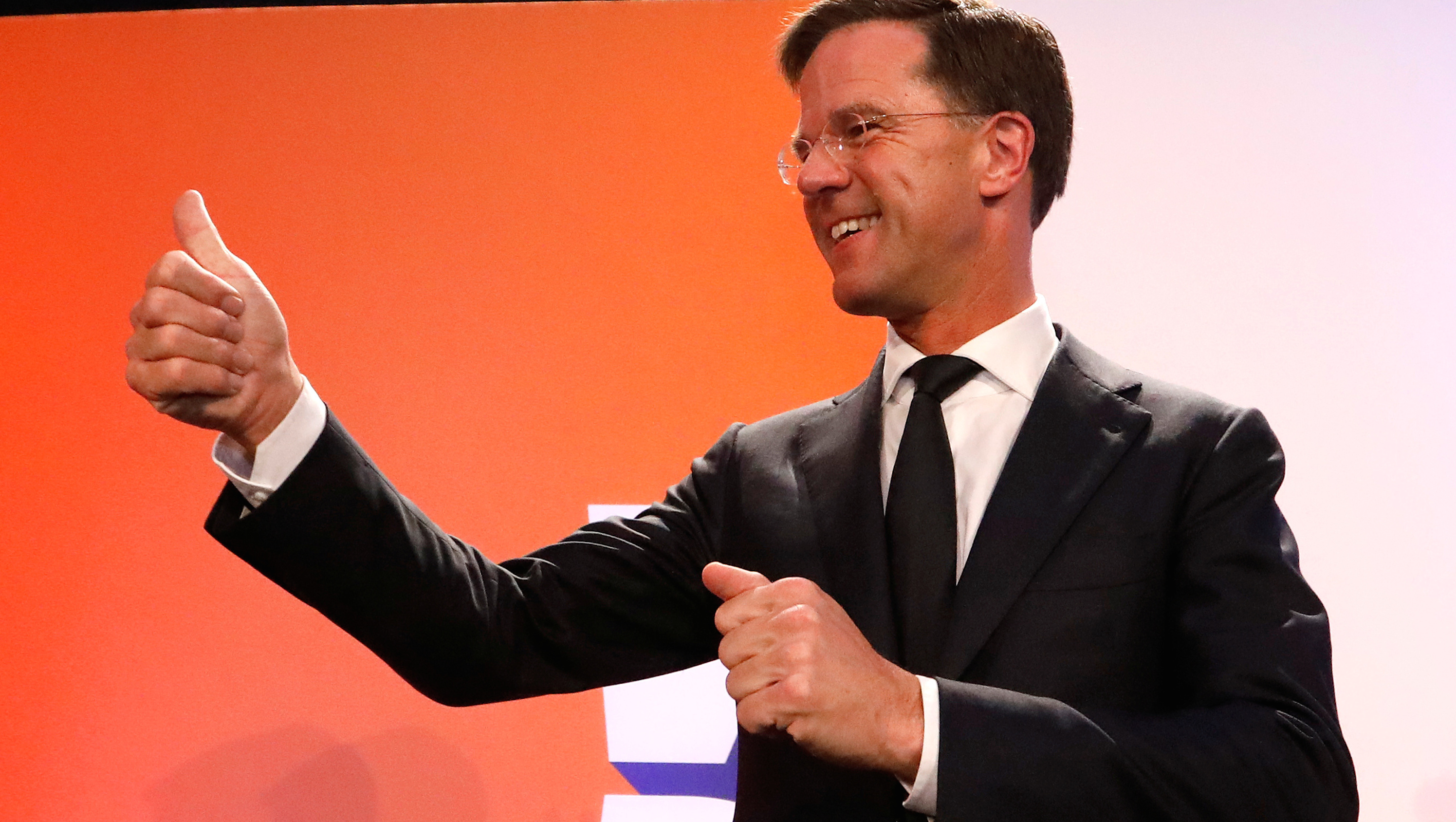 Dutch Prime Minister Mark Rutte of the VVD Liberal party appears before his supporters in The Hague, Netherlands, March 15, 2017.