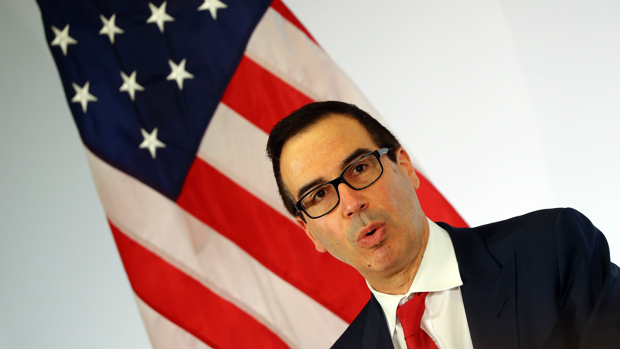 U.S. Treasury Secretary Steve Mnuchin addresses a news conference at the G20 Finance Ministers and Central Bank Governors Meeting in Baden-Baden, Germany, March 18, 2017.