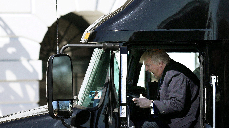 donald trump in truck