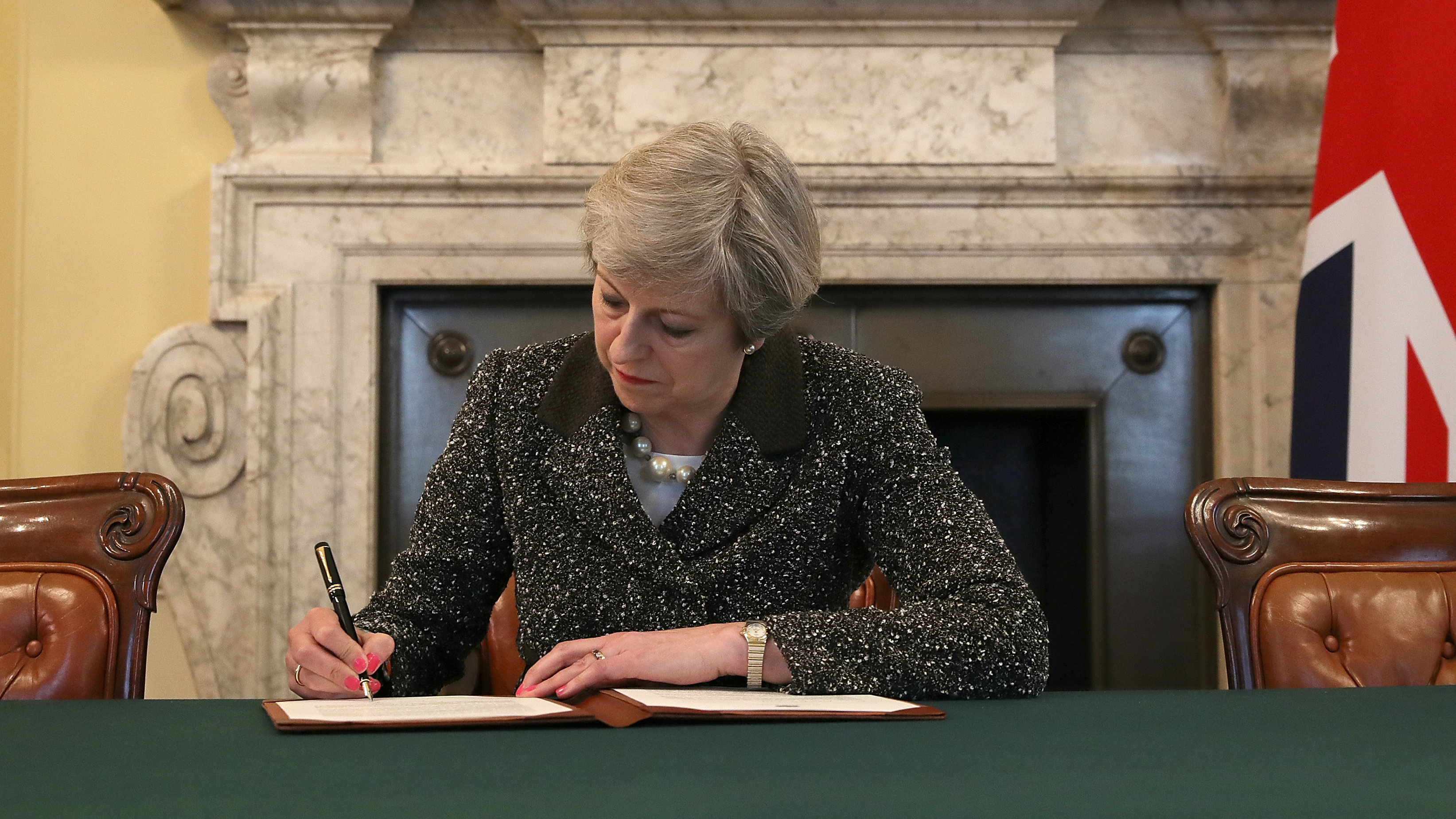 British prime minister Theresa May signs Article 50 letter