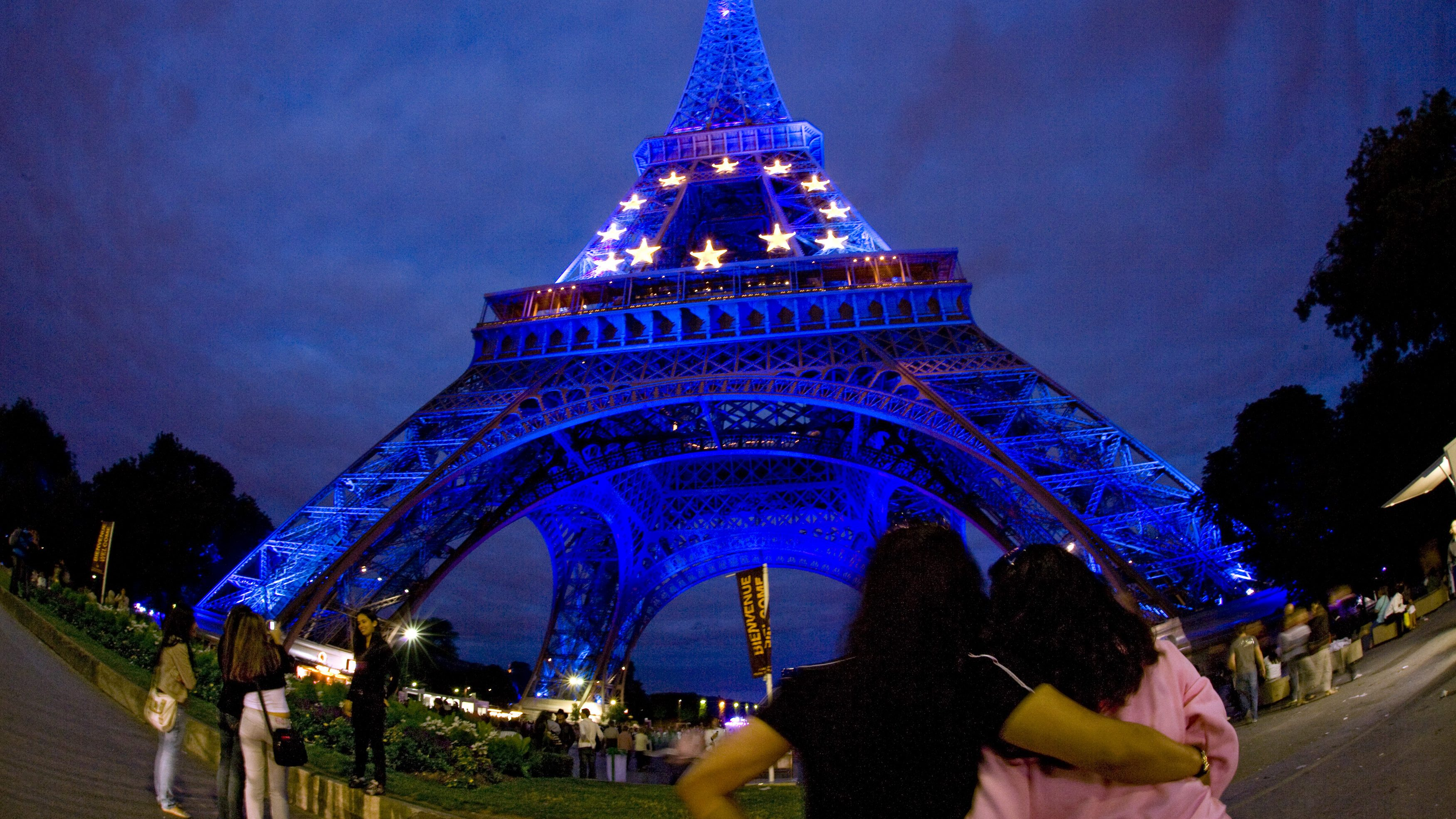 The Eiffel Tower lit in the European Union colours to mark the French EU Presidency in Paris