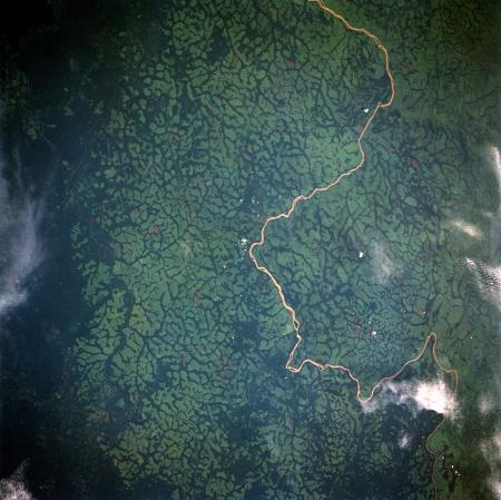 A 1992 photograph from the Space Shuttle Endeavour shows deforestation in the Democratic Republic of the Congo (then Zaire) in 1992. The light green areas are farmland, which contrast with the dark green of the surrounding canopy forest.