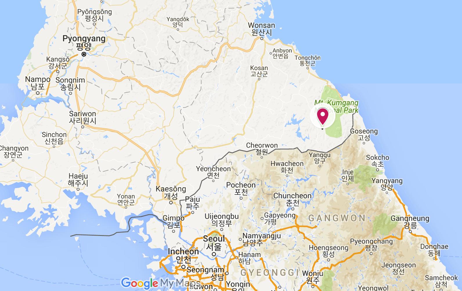 Mount Kumgang is to the south eastern of Pyongyang.