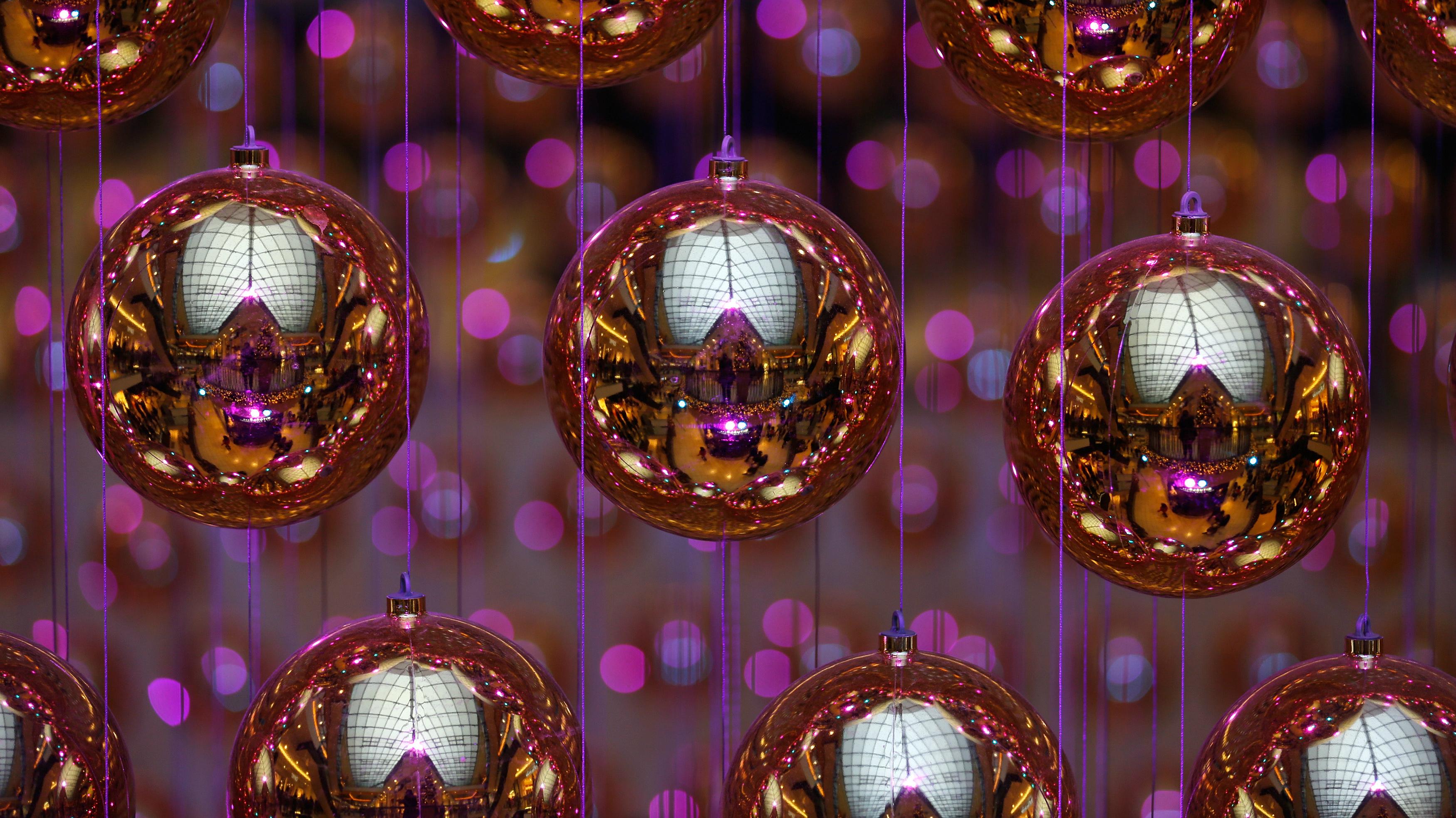 Shiny Christmas ornaments.