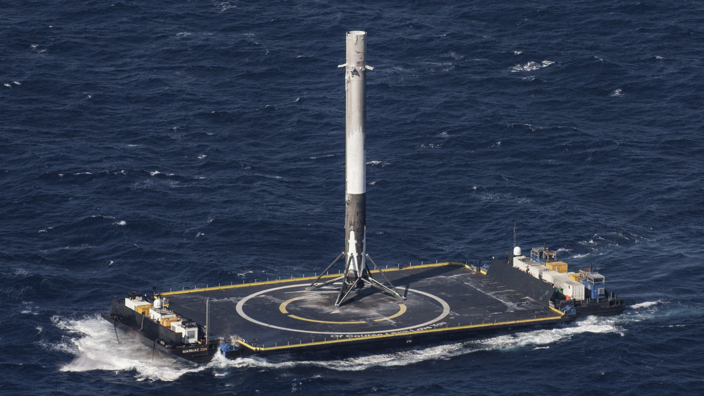 The first stage booster of the SpaceX Falcon rocket after landing in April 2016.
