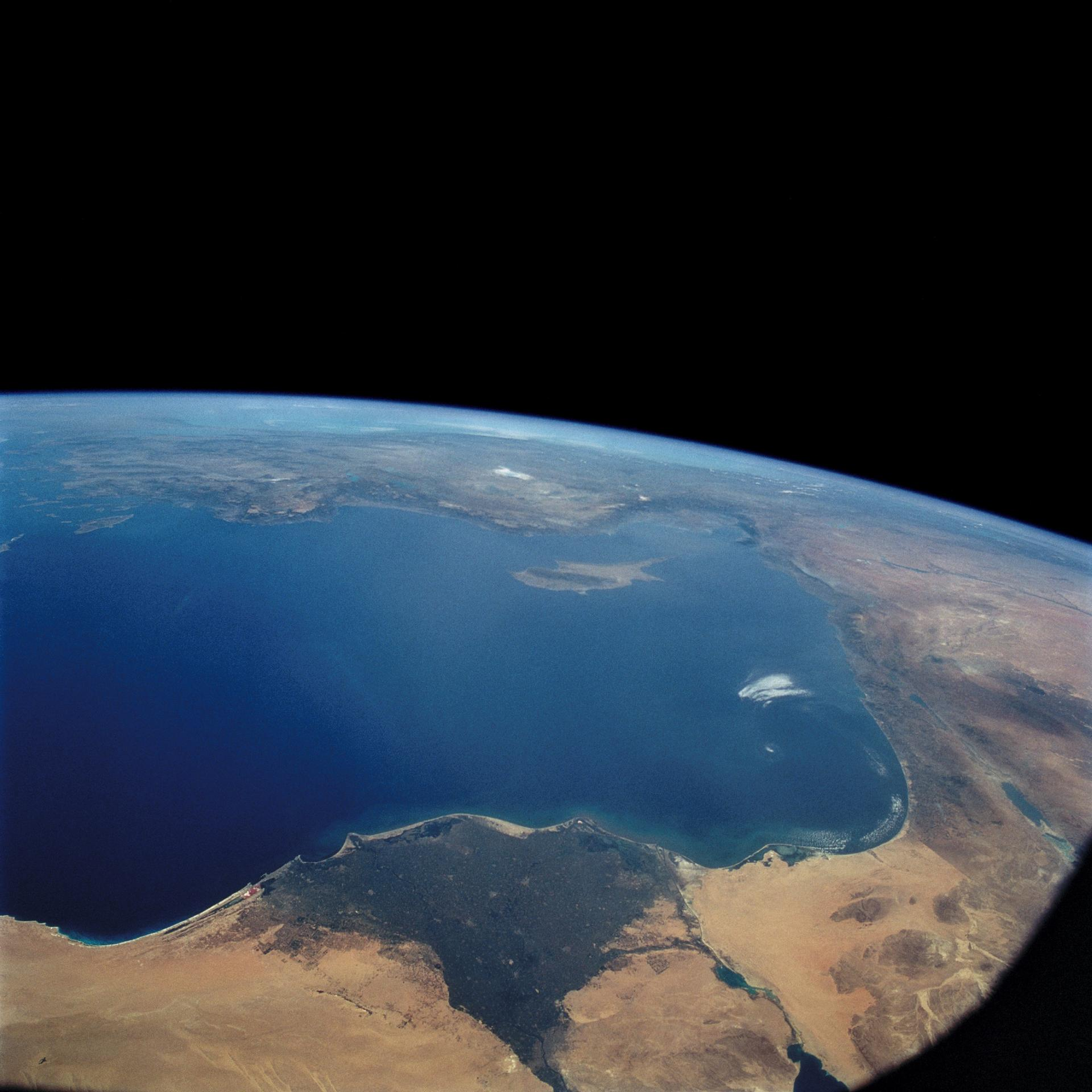 A 1993 image captures a view of the Nile River, the Eastern Mediterranean, the Euphrates River, and the Dead Sea.