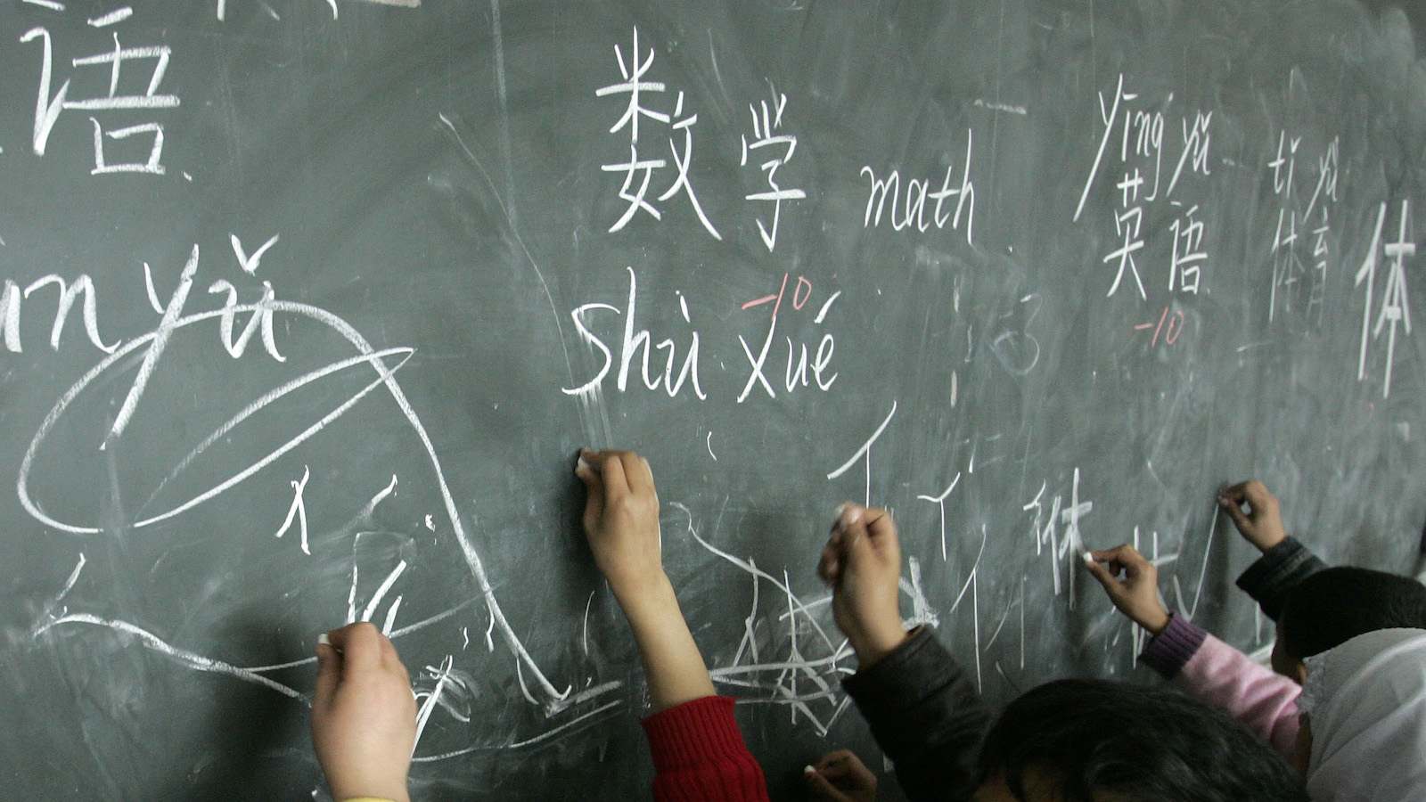Students study Chinese characters at Qunxing international school in Yiwu, Zhejiang province March 7, 2008. REUTERS/Aly Song (CHINA) - RTR1YK92