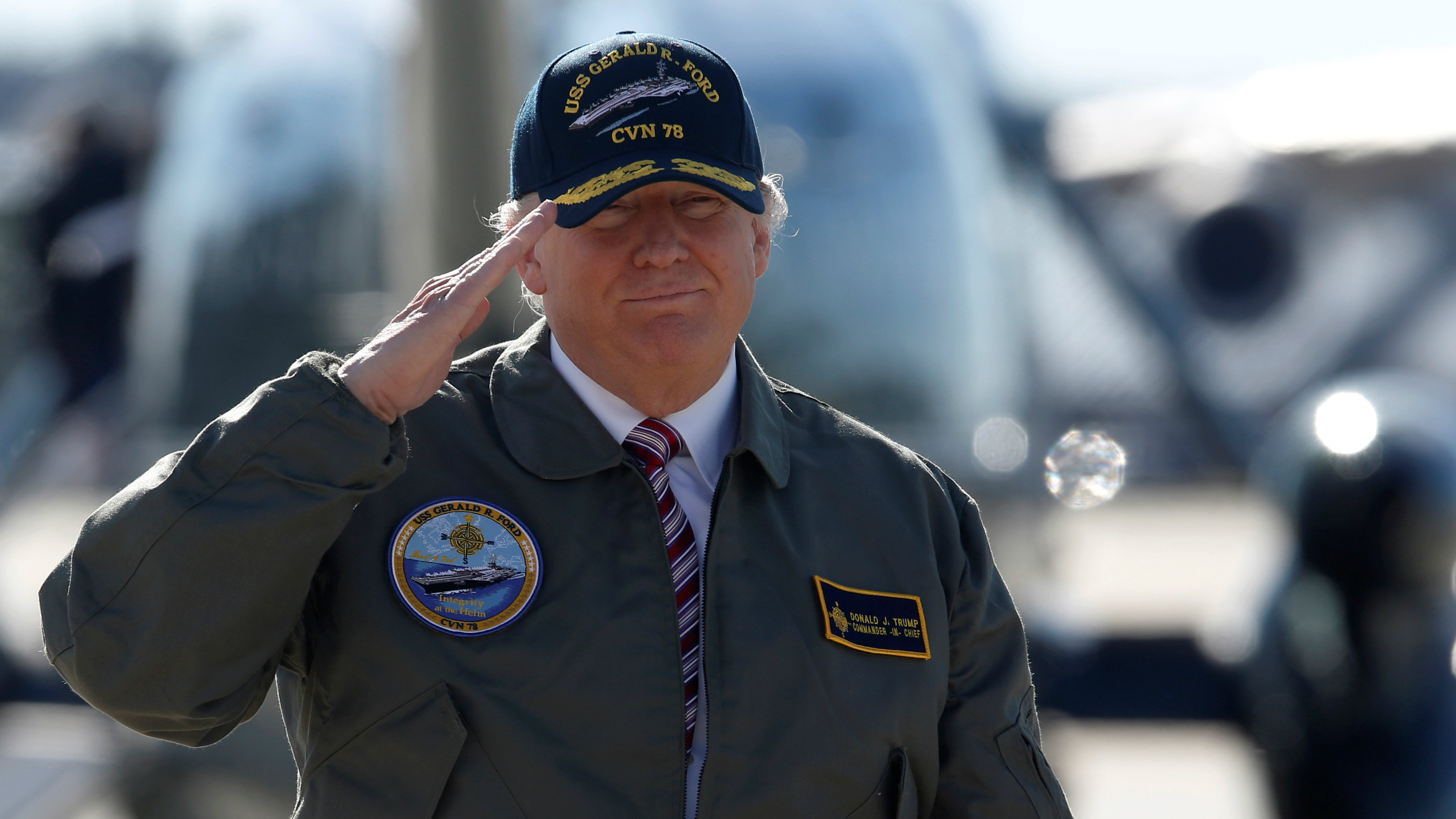US President Donald Trump arrives to board Air Force One to depart Langley Air Force Base