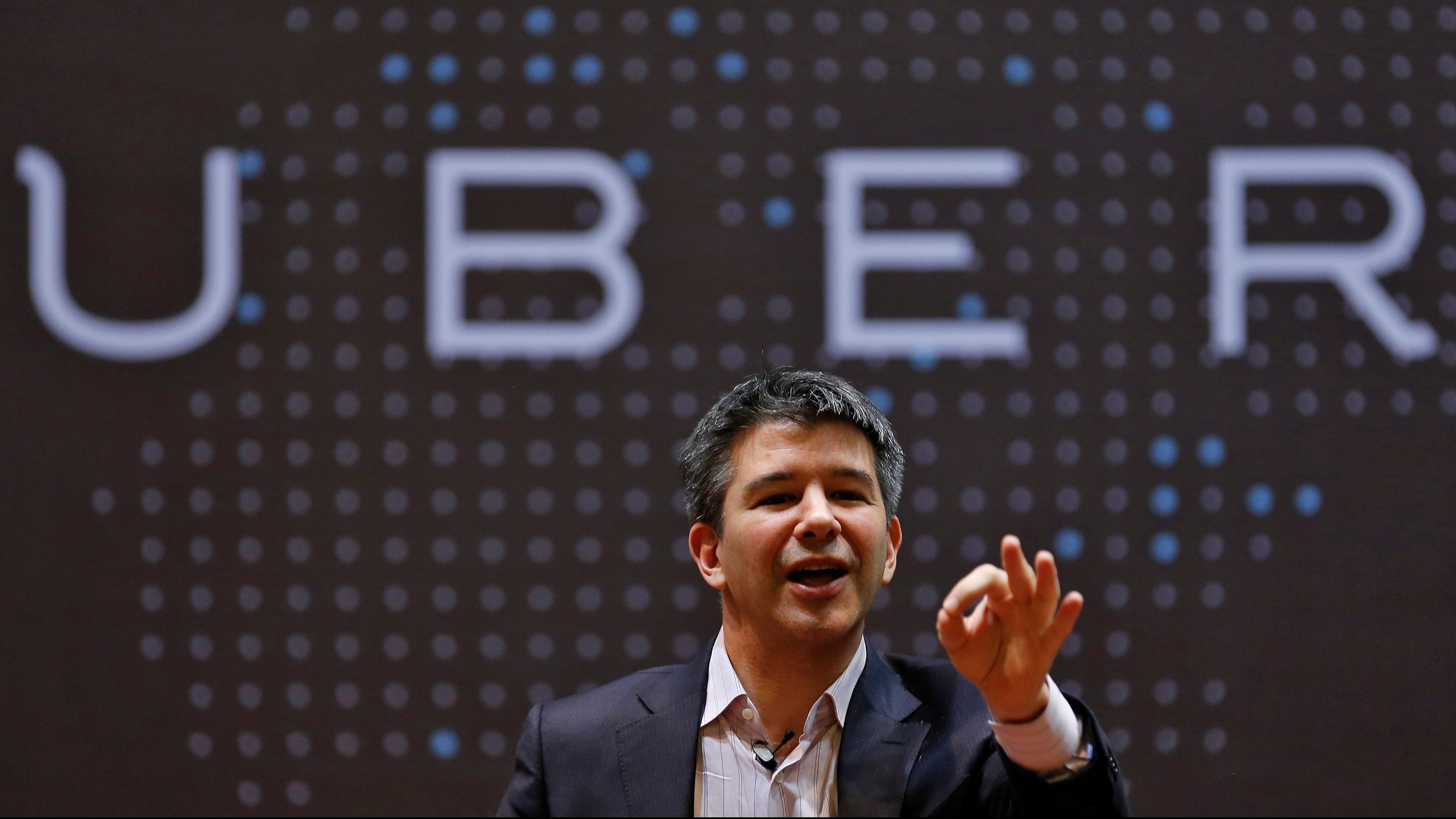Uber CEO Travis Kalanick speaks to students during an interaction at the Indian Institute of Technology in Mumbai.