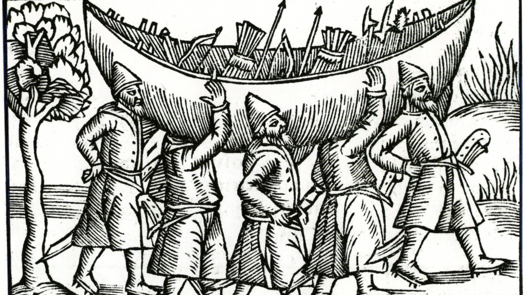 1554 engraving of Vikings transporting a boat.