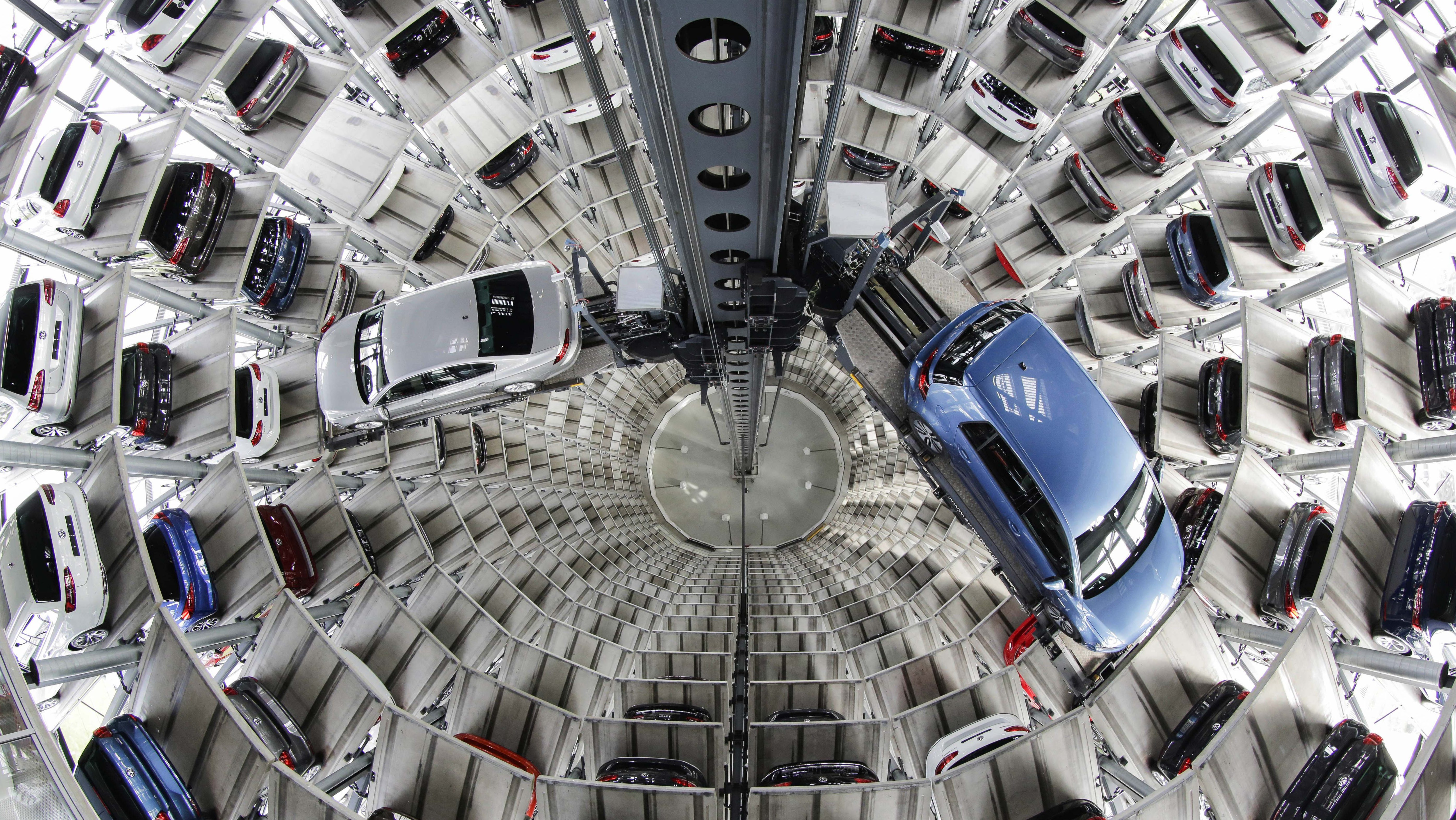 Volkswagen cars in a storage tower