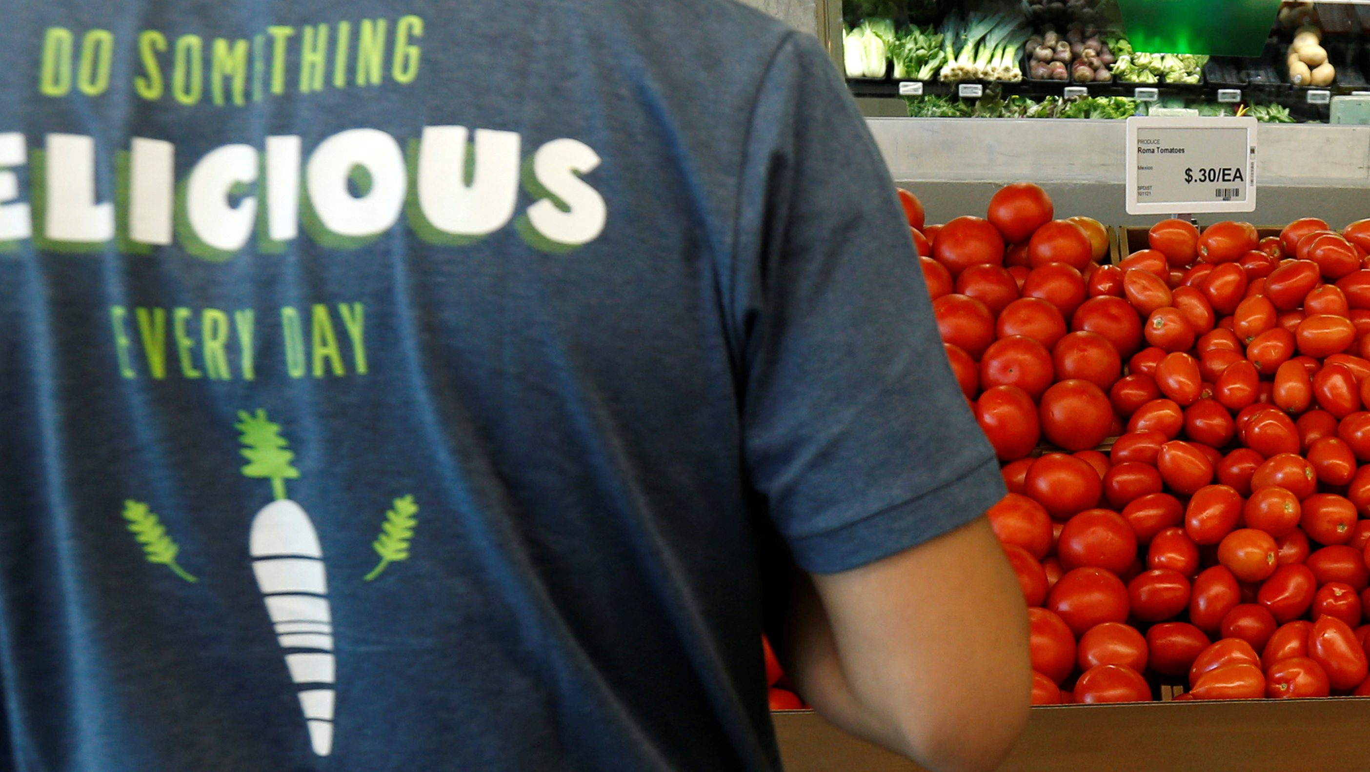 Tomatoes for sale are pictured at a 365 by Whole Foods Market grocery store ahead of its opening day in Los Angeles, U.S., May 24, 2016. REUTERS/Mario Anzuoni - RTSFTYR