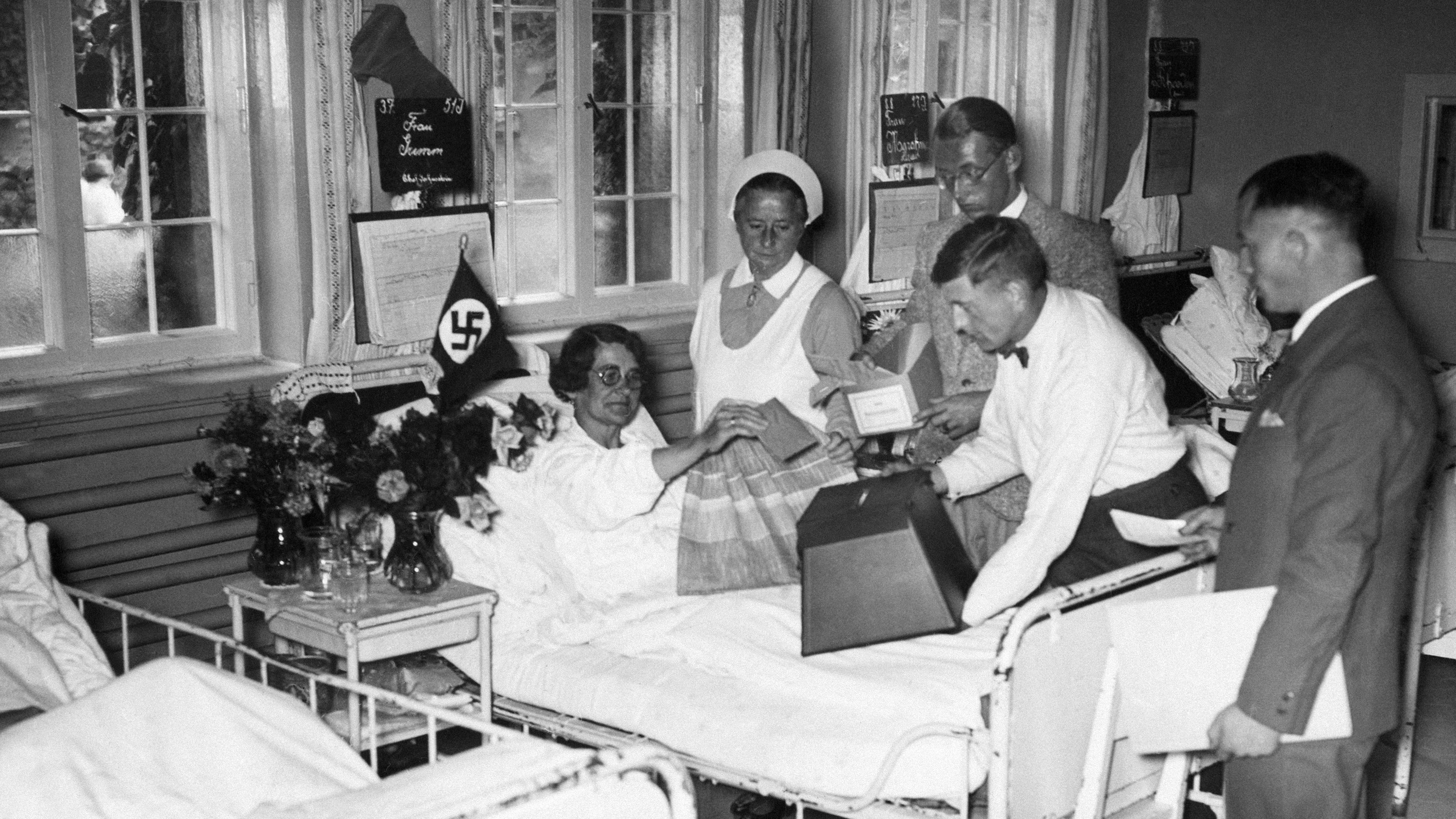 woman voting for hitler in hospital bed