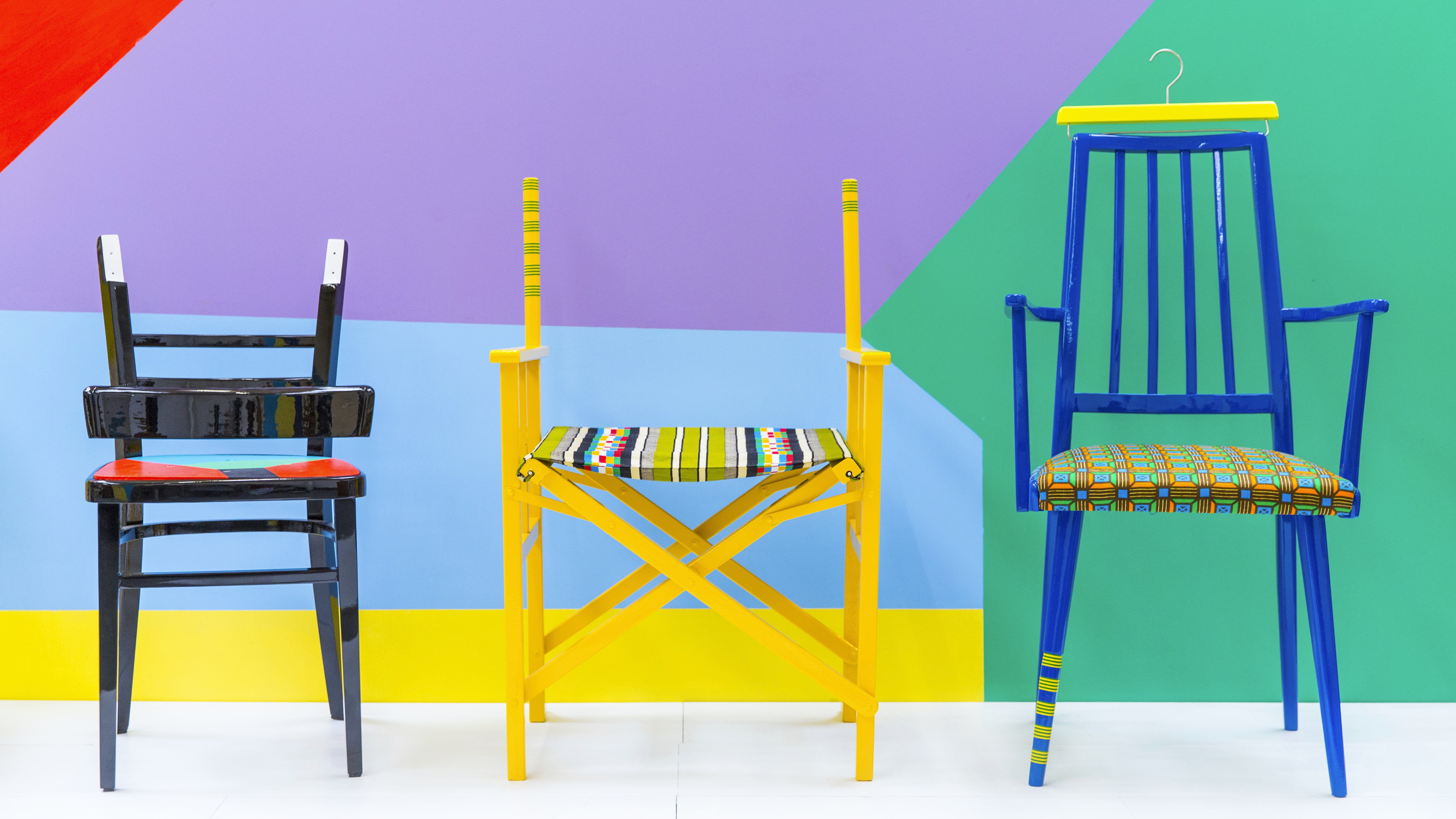 Designer Yinka Ilori uses chairs to tell the stories of people who sit in them