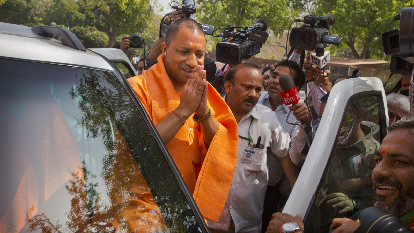 Uttar Pradesh chief minister Adityanath arrives at parliament in New Delhi on March 21, 2017. Adityanath was sworn in as chief minister on Sunday, March 19.