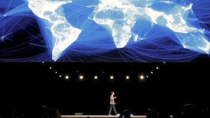 Zuckerberg, founder of Facebook, speaks on the stage as he attends the unveiling ceremony of new Samsung S7 and S7 edge smartphones at the Mobile World Congress in Barcelona