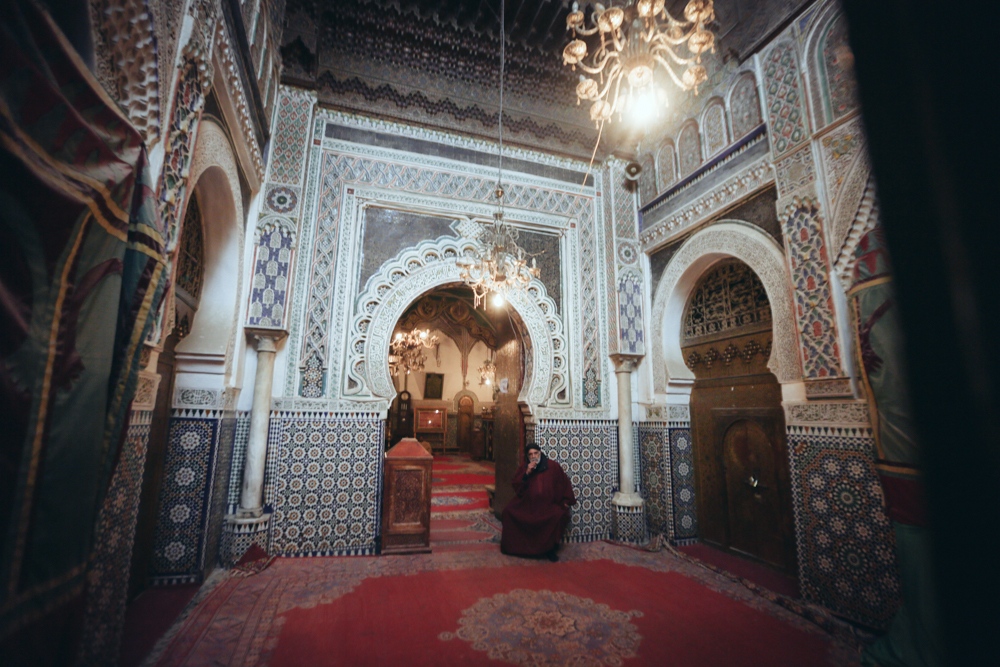 The entrance of the mausoleum of Moulay Idris II in the city of Fes in Morocco. Moulay Idris II founded Fes in 810, and was a direct descendant of the Prophet Muhammad.
