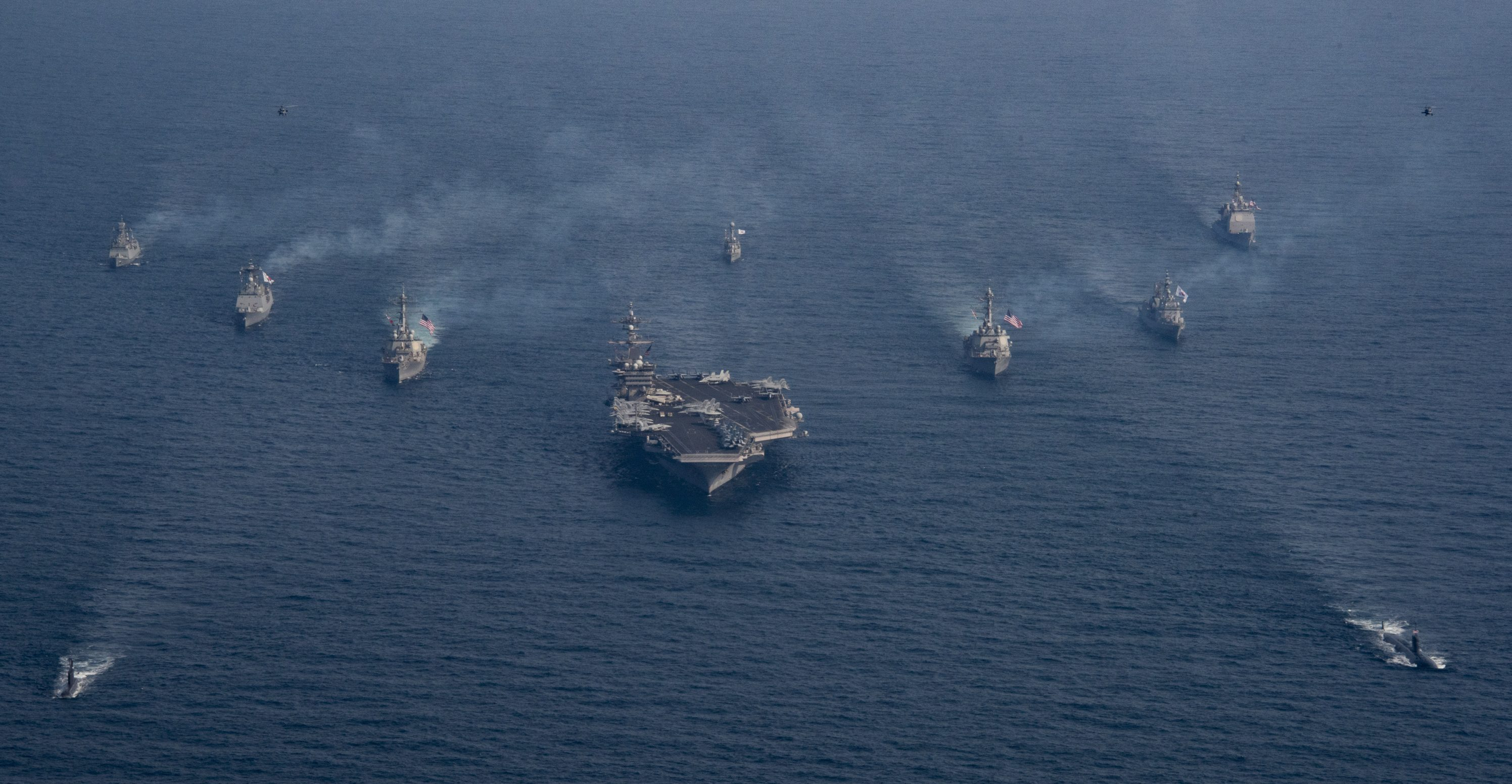 170322-N-BS159-135 U.S. 7TH FLEET AREA OF OPERATIONS (March 22, 2017) United States and the Republic of Korea Navy vessels participate in a photo exercise during Operation Foal Eagle. (U.S. Navy photo by Mass Communication Specialist 3rd Class Devin M. Monroe/Released)