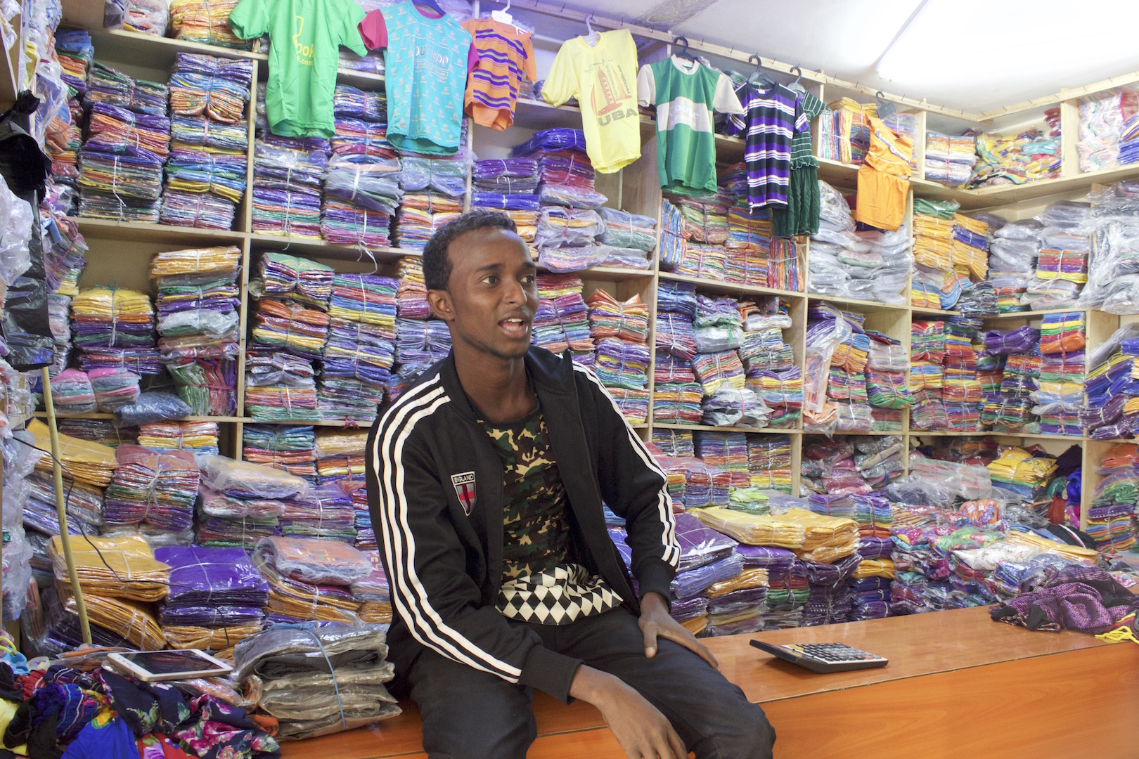 A shop near Amal Plaza in Eastleigh sells children's clothes imported from China.