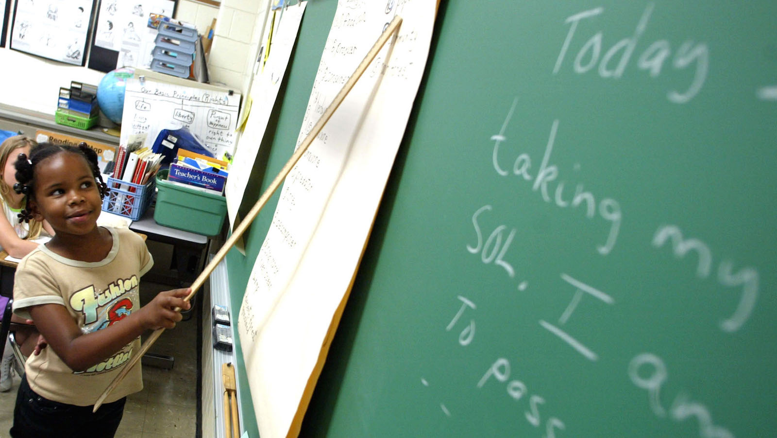Marshawnda Overstreet, 9, points to the chalkboard during a lesson on reading Thursday, May 27, 2004, at B.C. Charles Elementary School in Newport News, Va. The goal in education remains to ensure all children succeed, but there's a dominant emphasis on poor and minority kids as the school year begins. Federal law demands yearly progress for all groups of students, and schools that receive poverty aid _ as most school districts do _ face penalties up to state takeover if they consistently fall short. (AP Photo/Jason Hirschfeld)