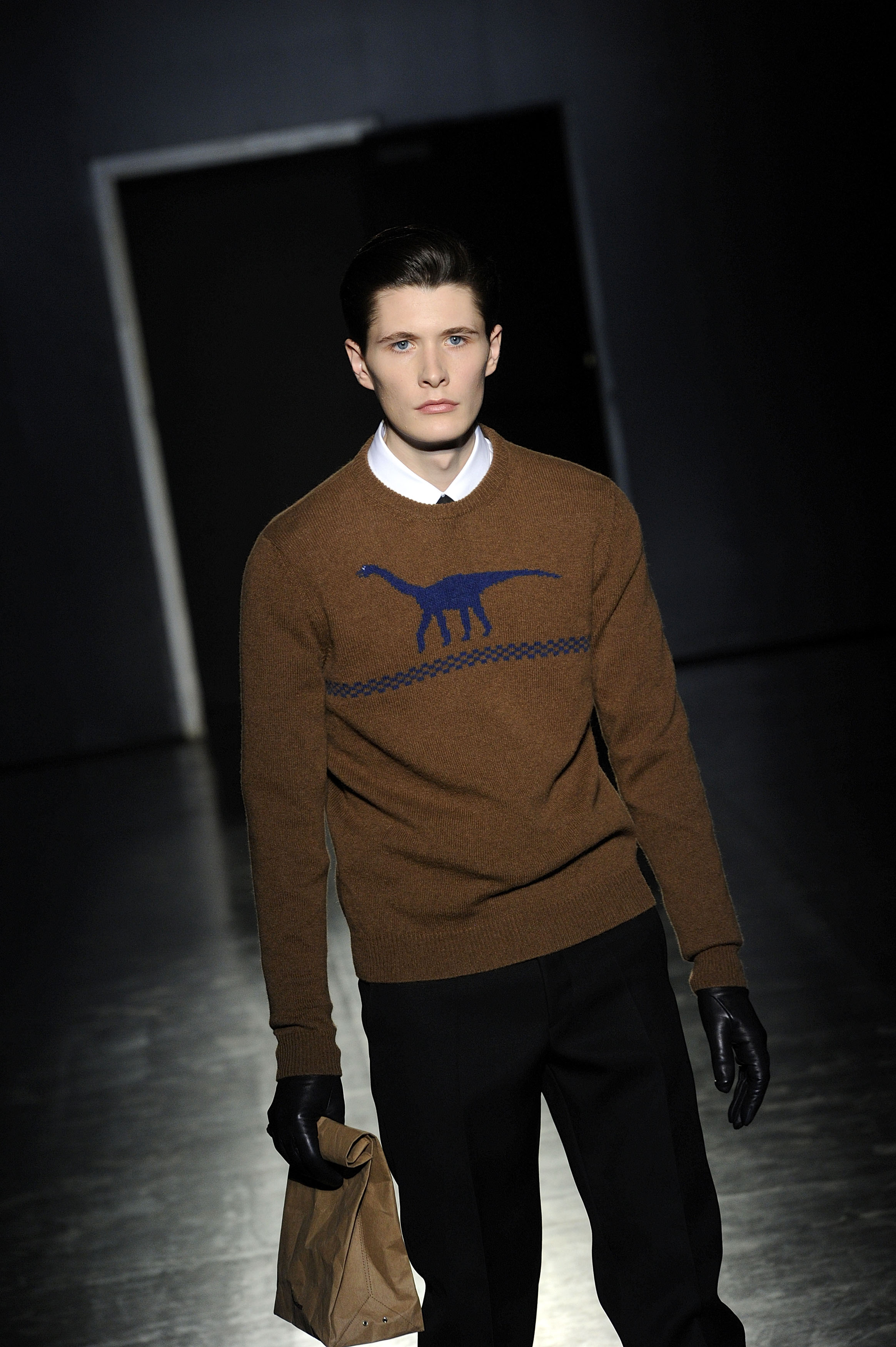 A model wear a creation of Jil Sander men's Fall-Winter 2012-13 collection, part of of the Milan Fashion Week, unveiled in Milan, Italy,Saturday, Jan 14, 2012. (AP Photo/Giuseppe Aresu)
