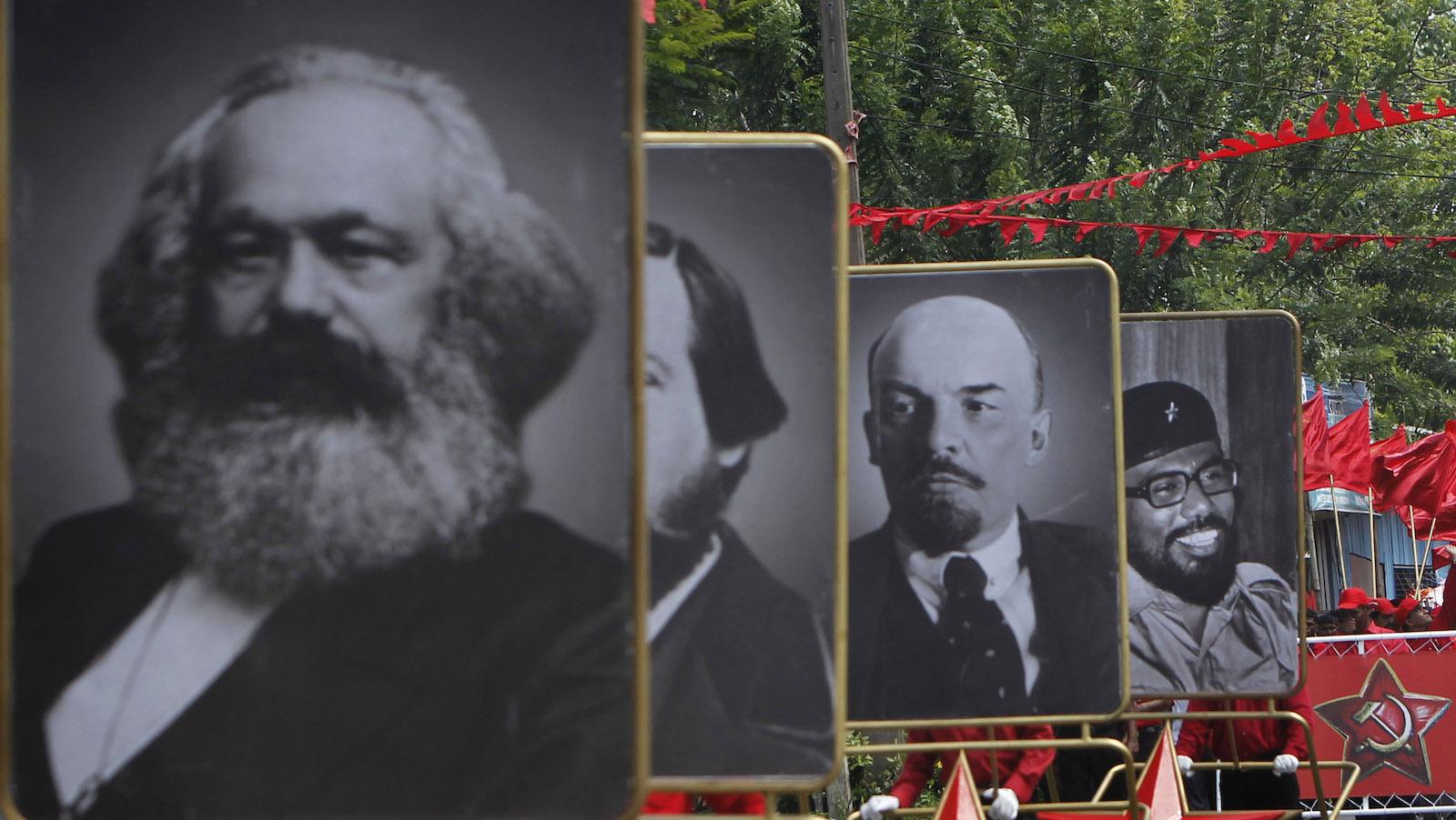 Karl Marx, Friedrich Engels, Vladimir Lenin, and Rohana Wijeweera