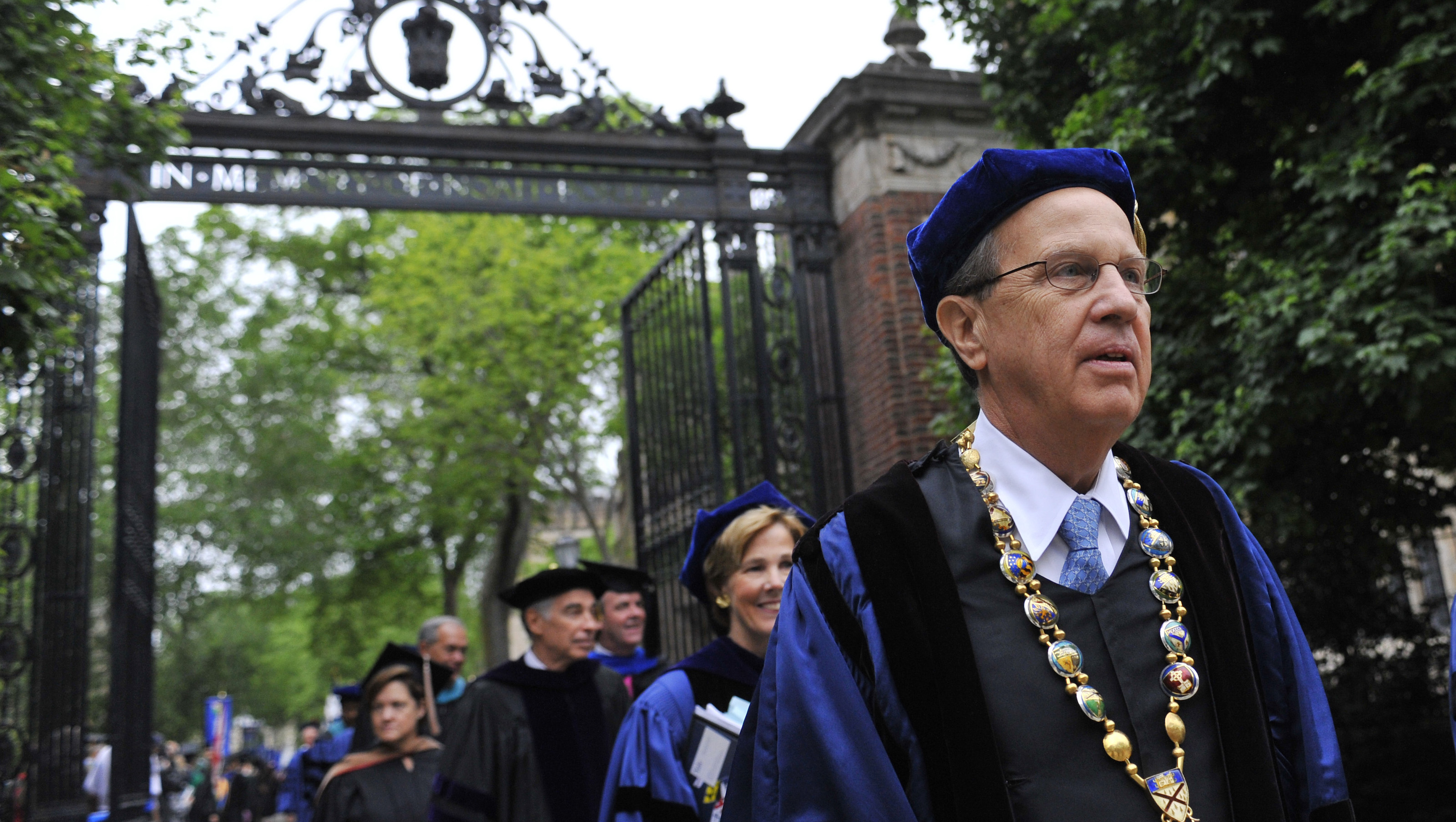 Yale University president Richard Levin, right, leads a procession during Yale's commencement exercises in New Haven, Conn., Monday, May 21, 2012.  (AP Photo/Jessica Hill)