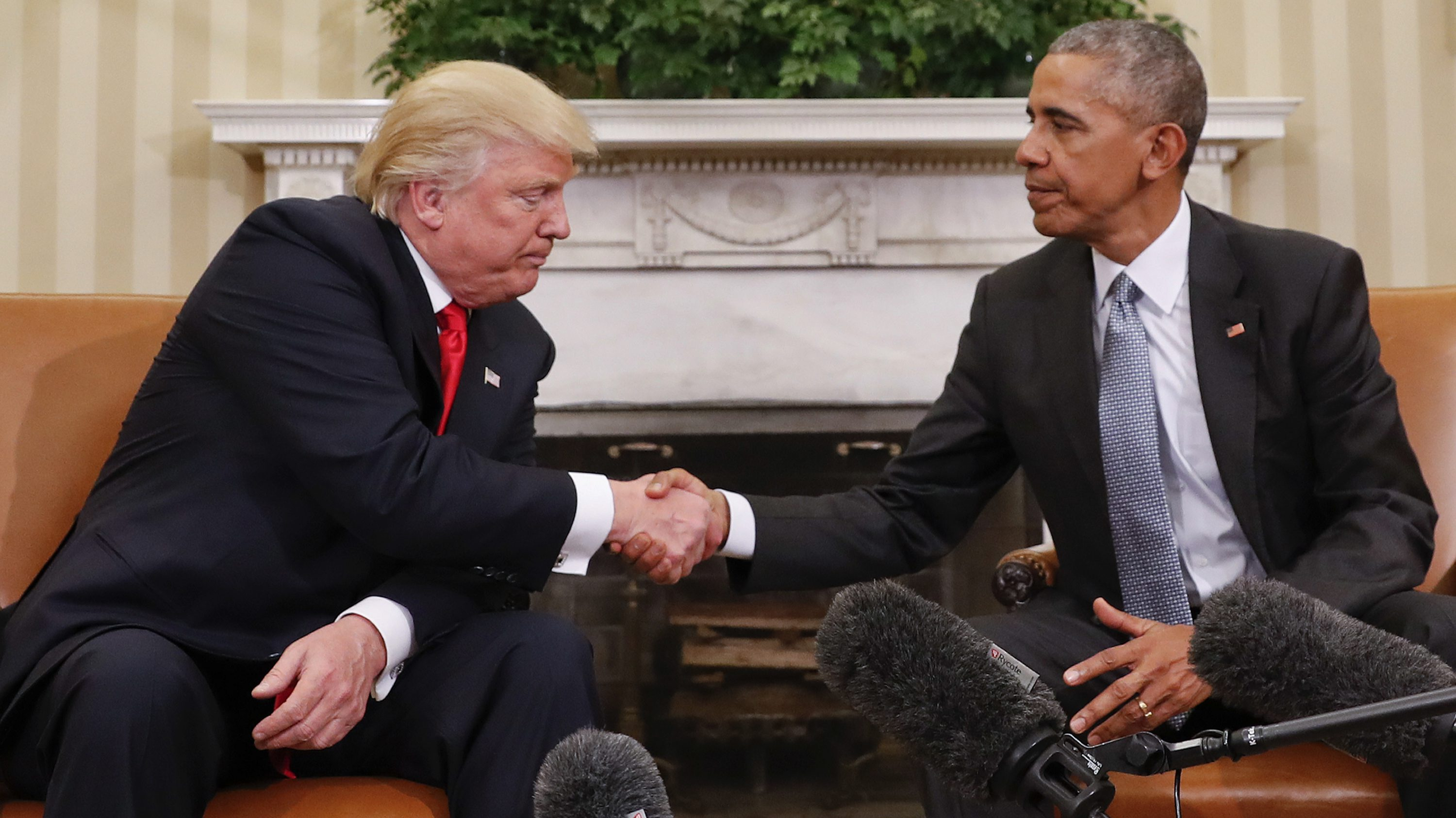 In this Nov. 10, 2016 photo, President Barack Obama and President-elect Donald Trump shake hands following their meeting in the Oval Office of the White House in Washington.
