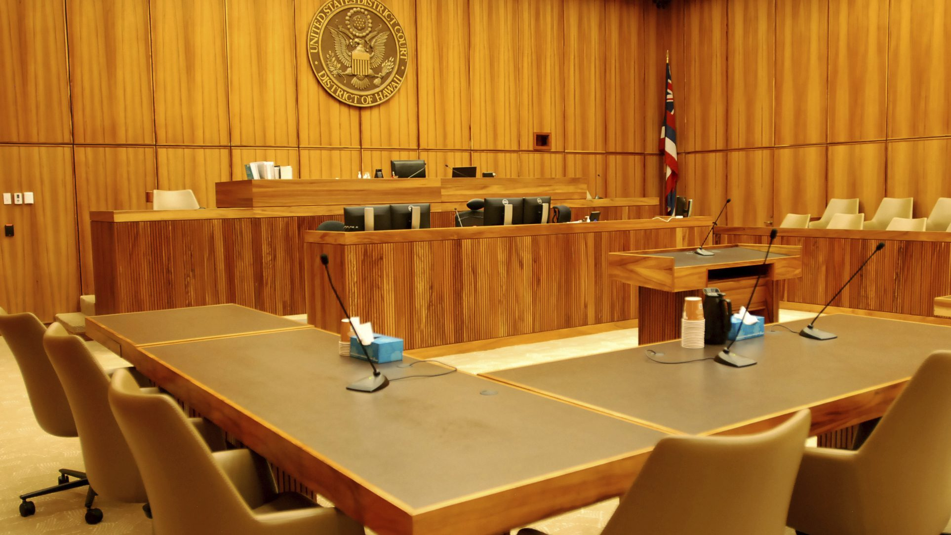 A U.S. federal courtroom sits empty on Monday, Feb. 13, 2017, in Honolulu. (AP Photo/Jennifer Sinco Kelleher)