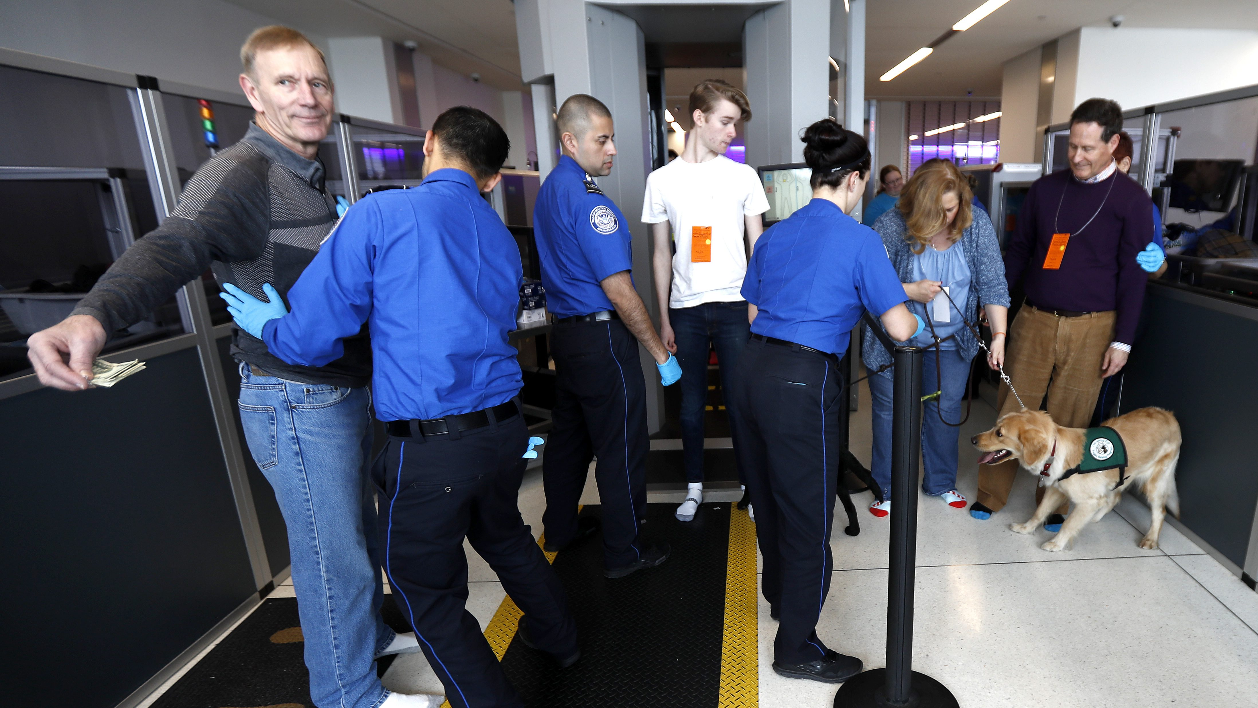 A traveler, left, is padded by a TSA agent as trainers, top right, lead their service dogs through the security area at Newark Liberty International Airport while taking part of a training exercise, Saturday, April 1, 2017, in Newark, N.J. Trainers took dogs through security check and onto a plane as part of the exercise put on by the Seeing Eye puppy program. (AP Photo/Julio Cortez)