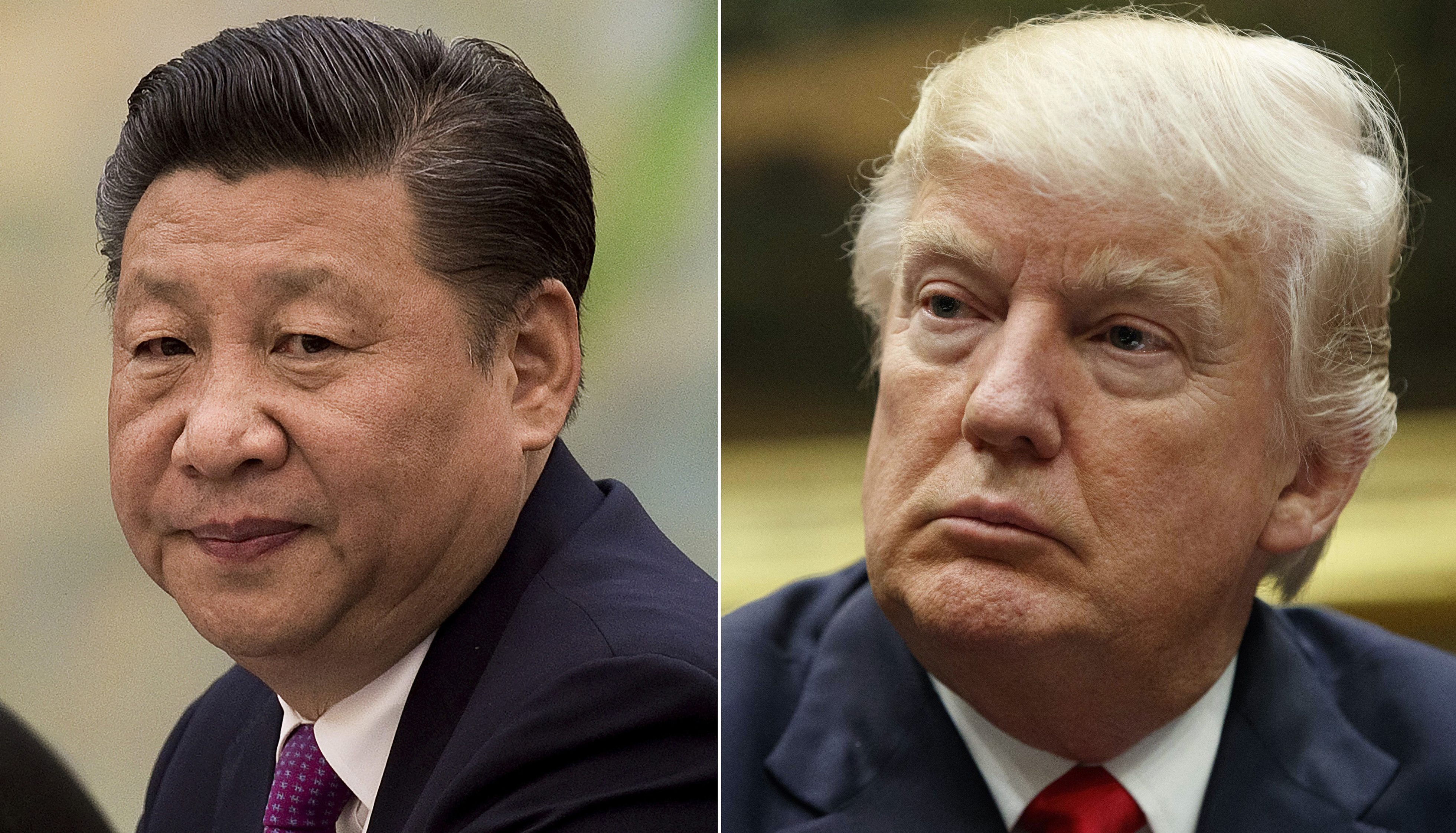 This combination of file photos show U.S. President Donald Trump, right, in a meeting at the White House in Washington, on March 31, 2017, and China's President Xi Jinping in a meeting at the Great Hall of the People in Beijing, on Dec. 1, 2016. President Xi probably won't give President Trump a round of golf during their first face-to-face meeting on April 6-7, but may find it worthwhile to ensure his American counterpart does not feel like he's leaving empty-handed. Some analysts believe Xi might be willing to hand Trump a symbolic victory on trade to put a positive spin on the meeting.