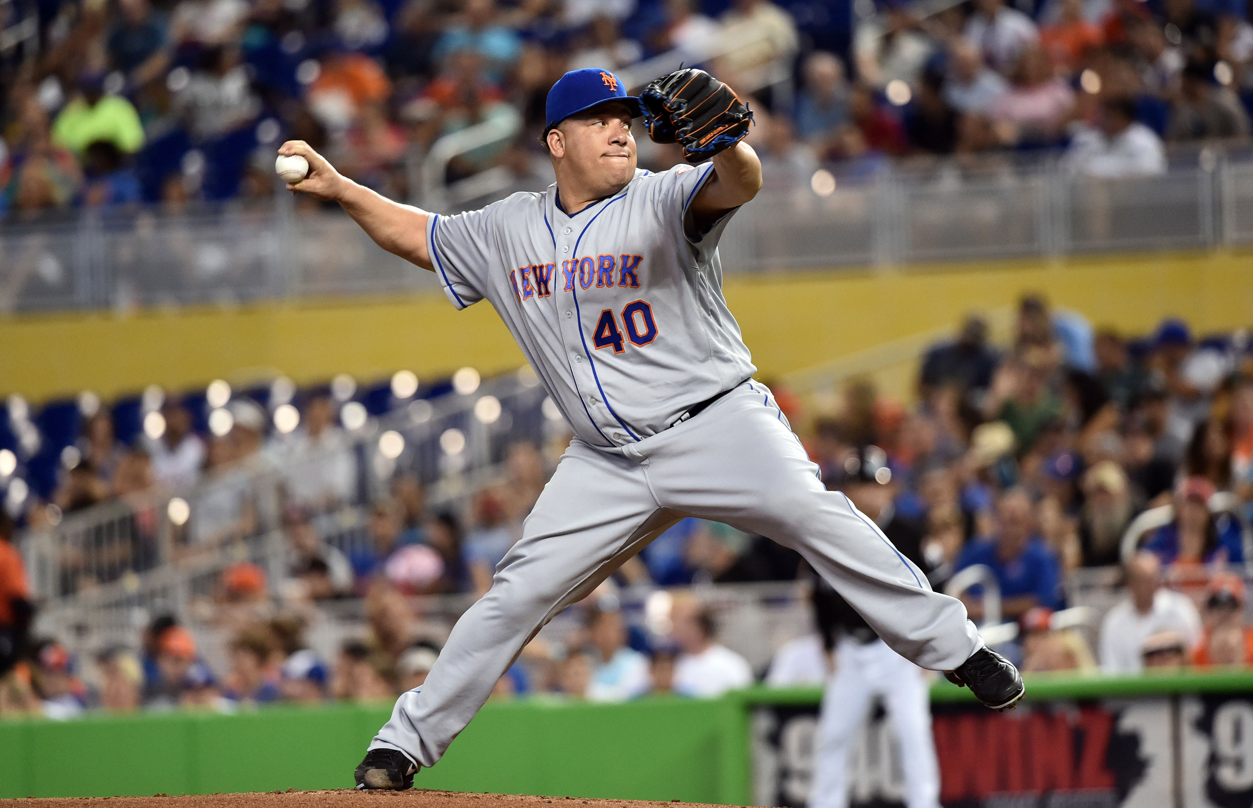 Jun 4, 2016; Miami, FL, USA; New York Mets starting pitcher Bartolo Colon (40) delivers a pitch against the Miami Marlins during the first inning at Marlins Park.